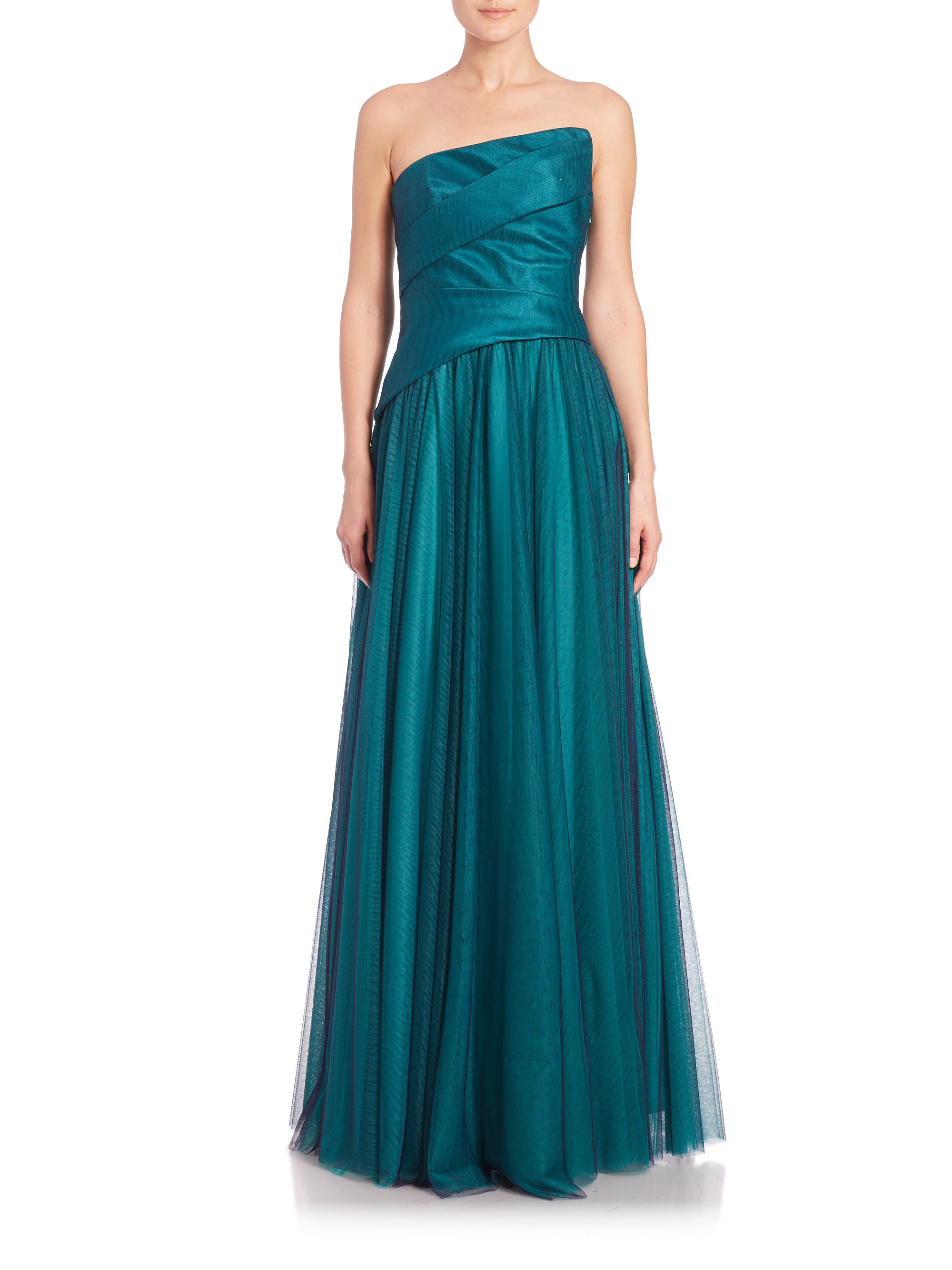 Lyst - Ml Monique Lhuillier Ruched Combo Gown in Blue