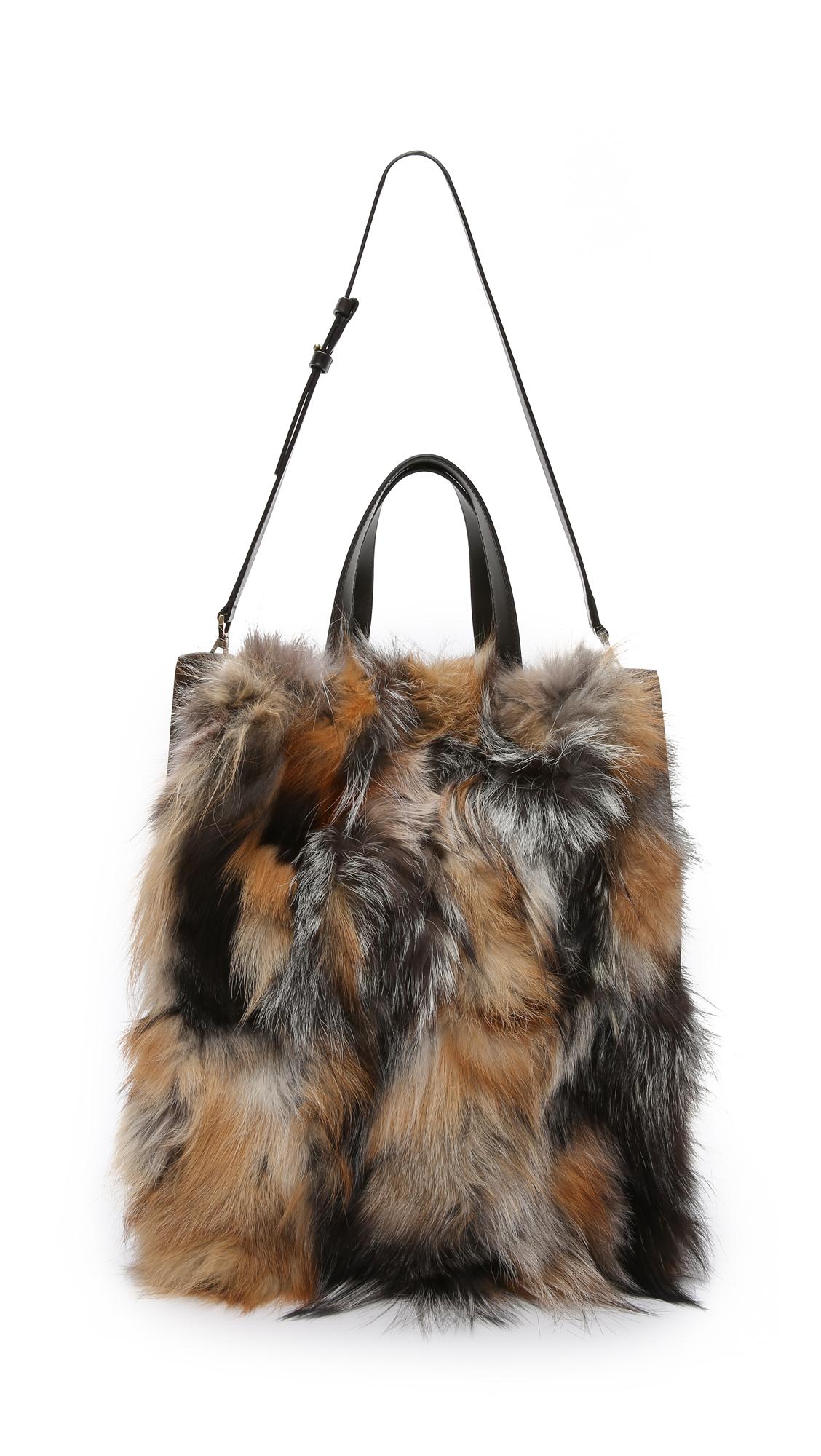 c8b6409931a4 Michael Kors Addington Xl Fur Tote - Rust in Brown - Lyst