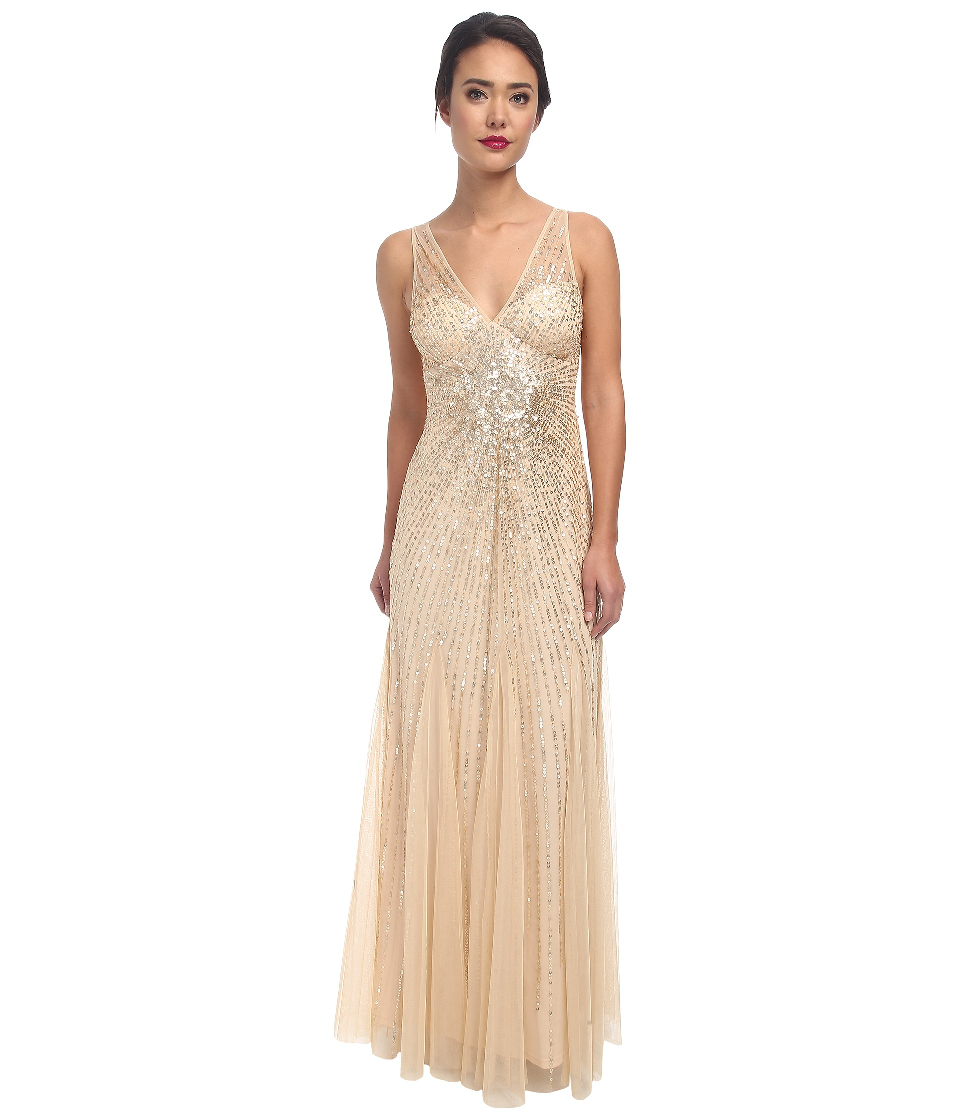424fb9dc7961 Lyst - Adrianna Papell Beaded Mesh Mermaid Gown in Metallic