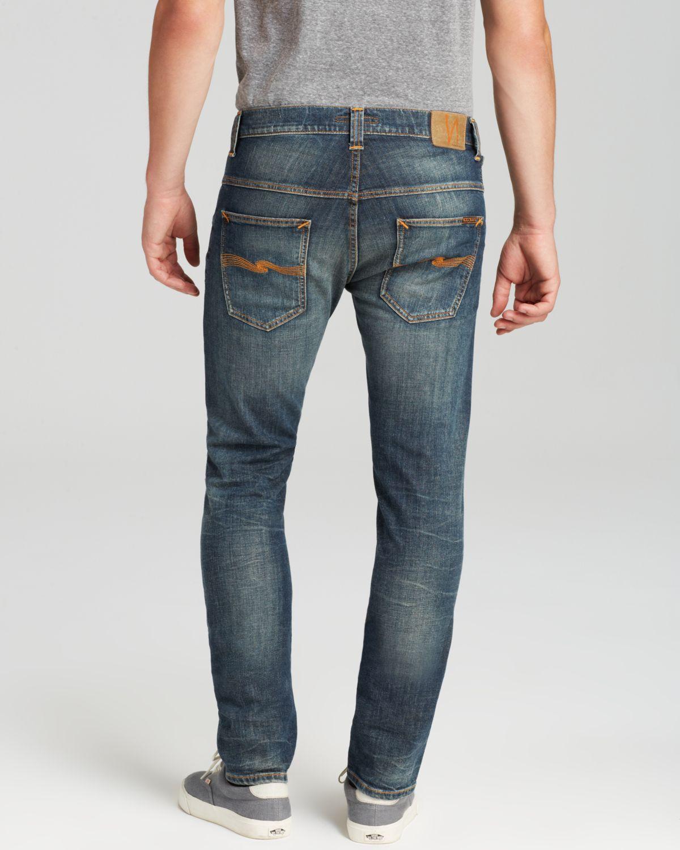 lyst nudie jeans thin finn slim fit in dusk indigo in. Black Bedroom Furniture Sets. Home Design Ideas