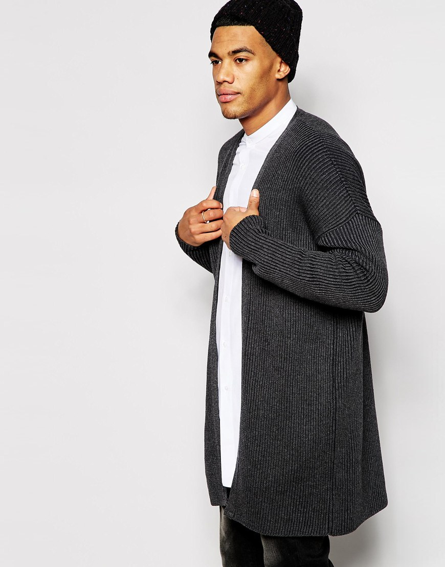 Asos Super Longline Cardigan With Ribs in Gray for Men | Lyst