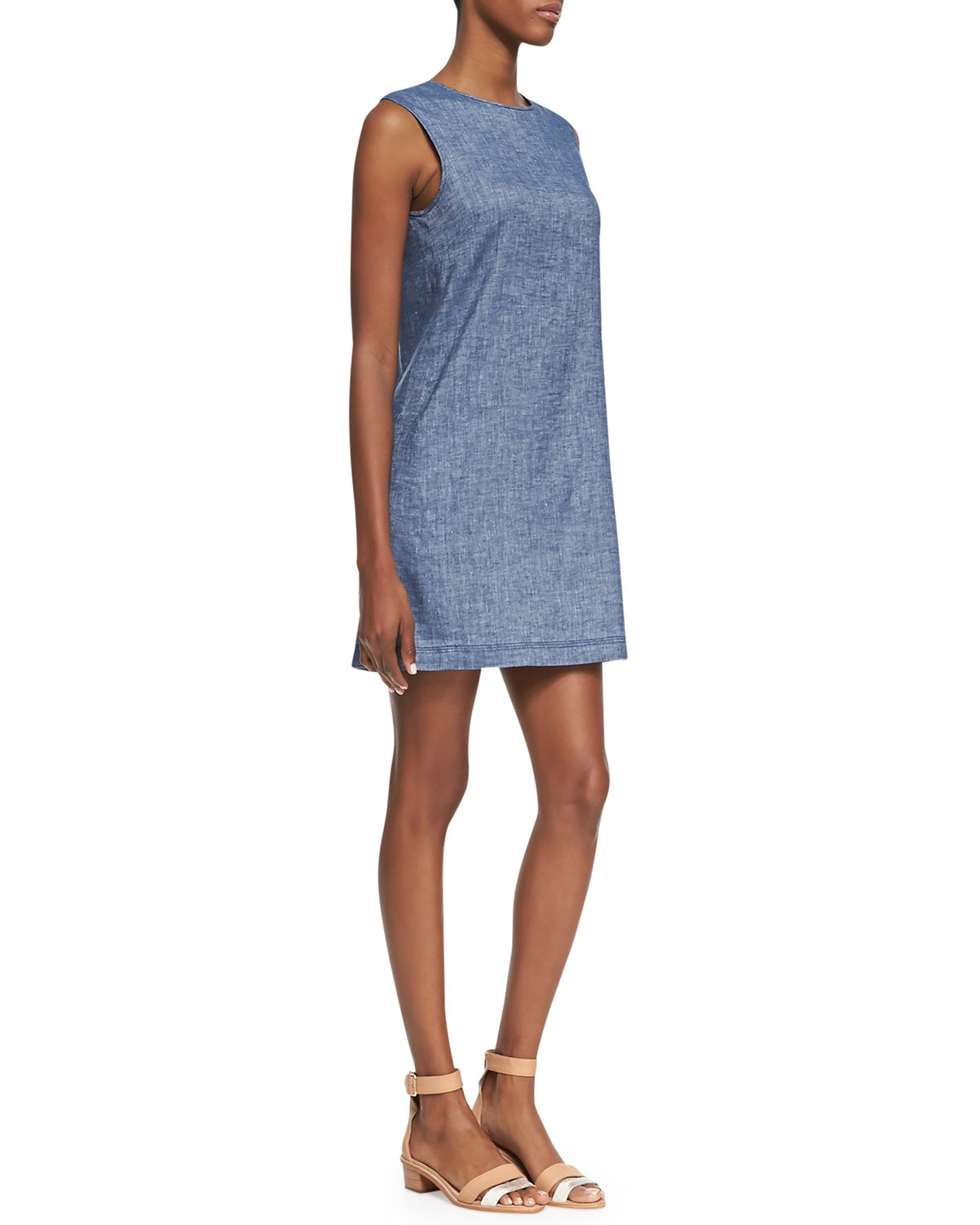 Theory tierra sleeveless chambray shift dress in blue for Chambray dress