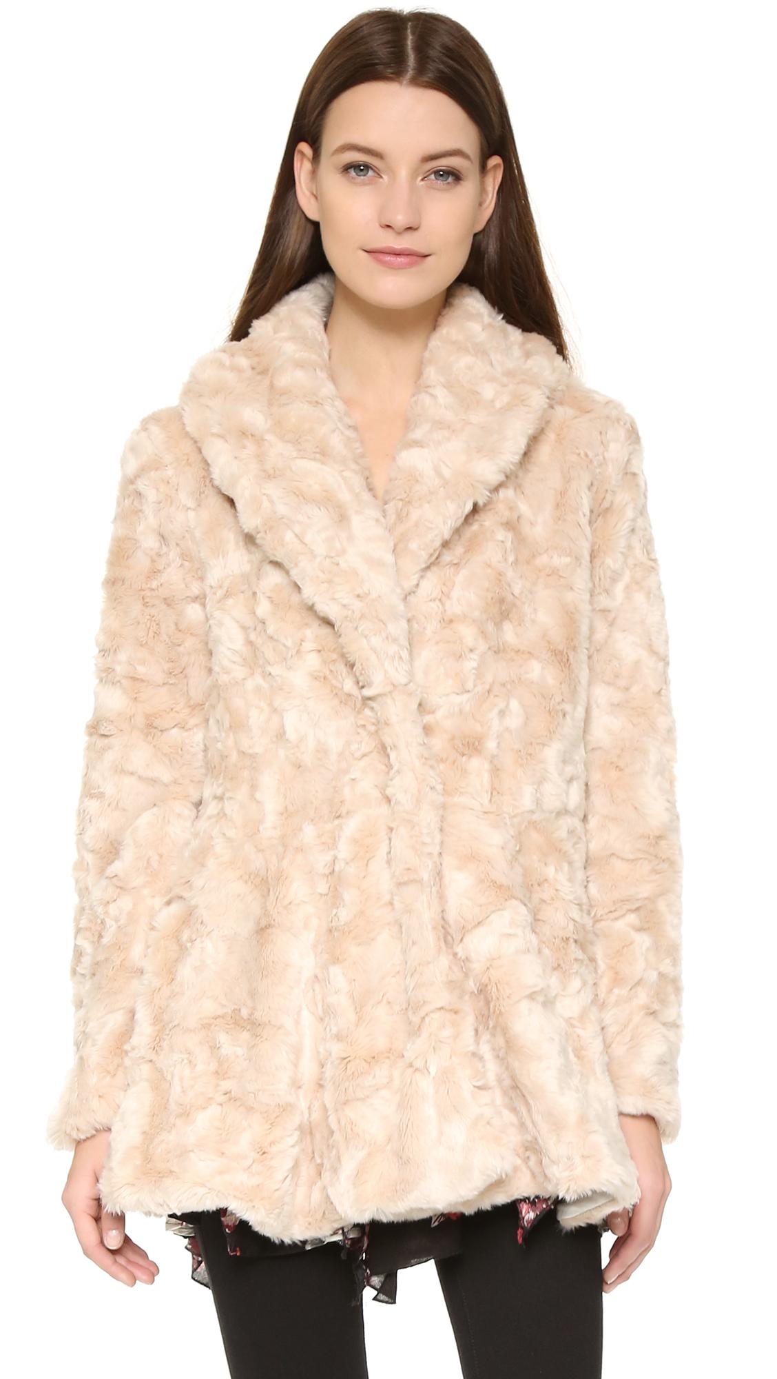 Free people swingy faux fur coat rose in pink lyst