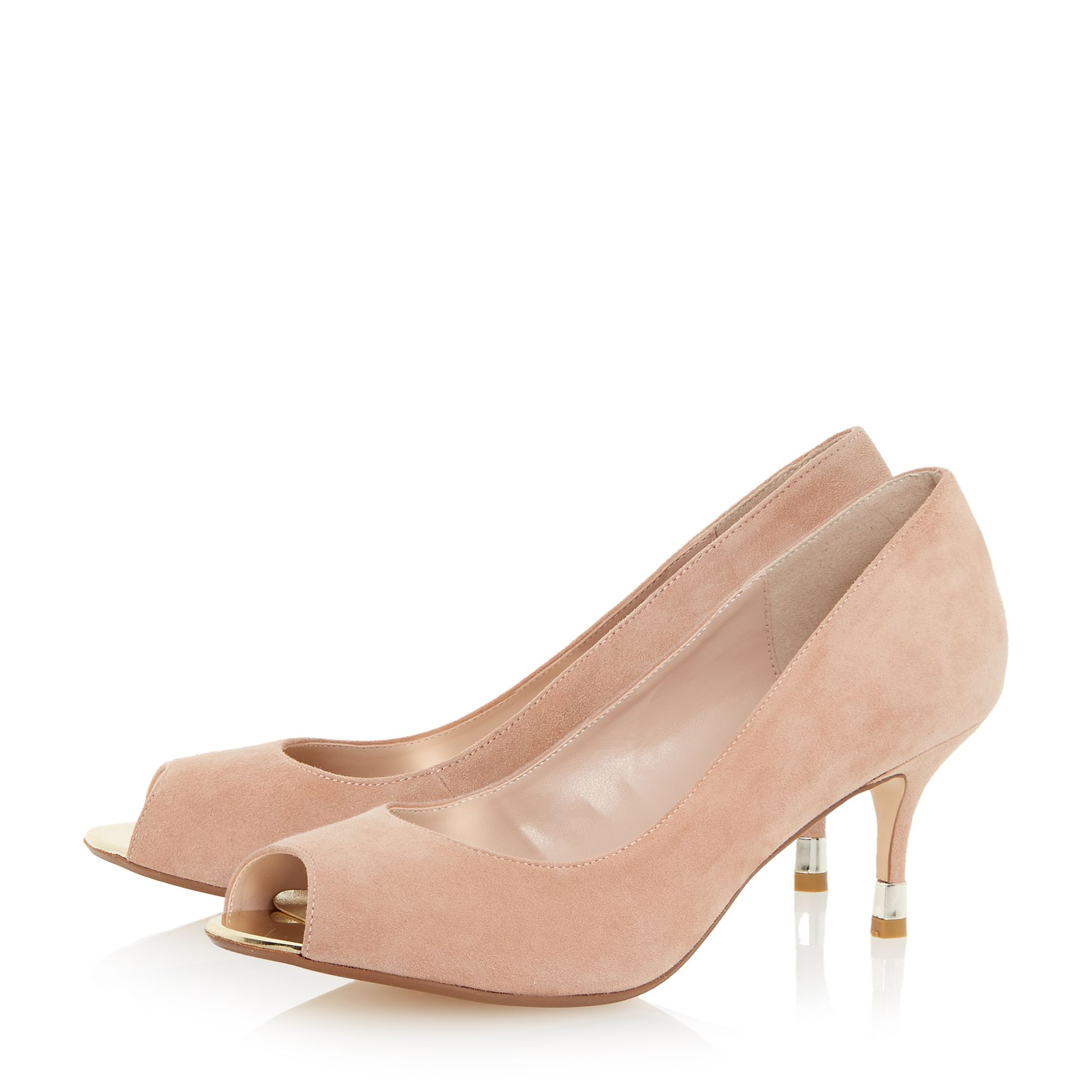 Dune Denise Peep Toe Kitten Heel Court Shoe in Pink | Lyst