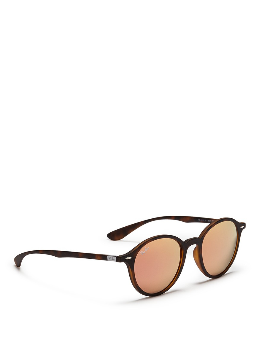 fe4e41cca6e ... Lyst - Ray-Ban rb4237 Liteforce Thermoplastic Round Mirror Sunglasses  in Pink ...