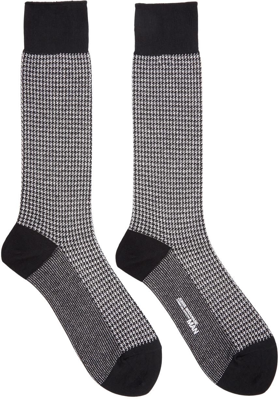 junya watanabe black and silver houndstooth socks in black