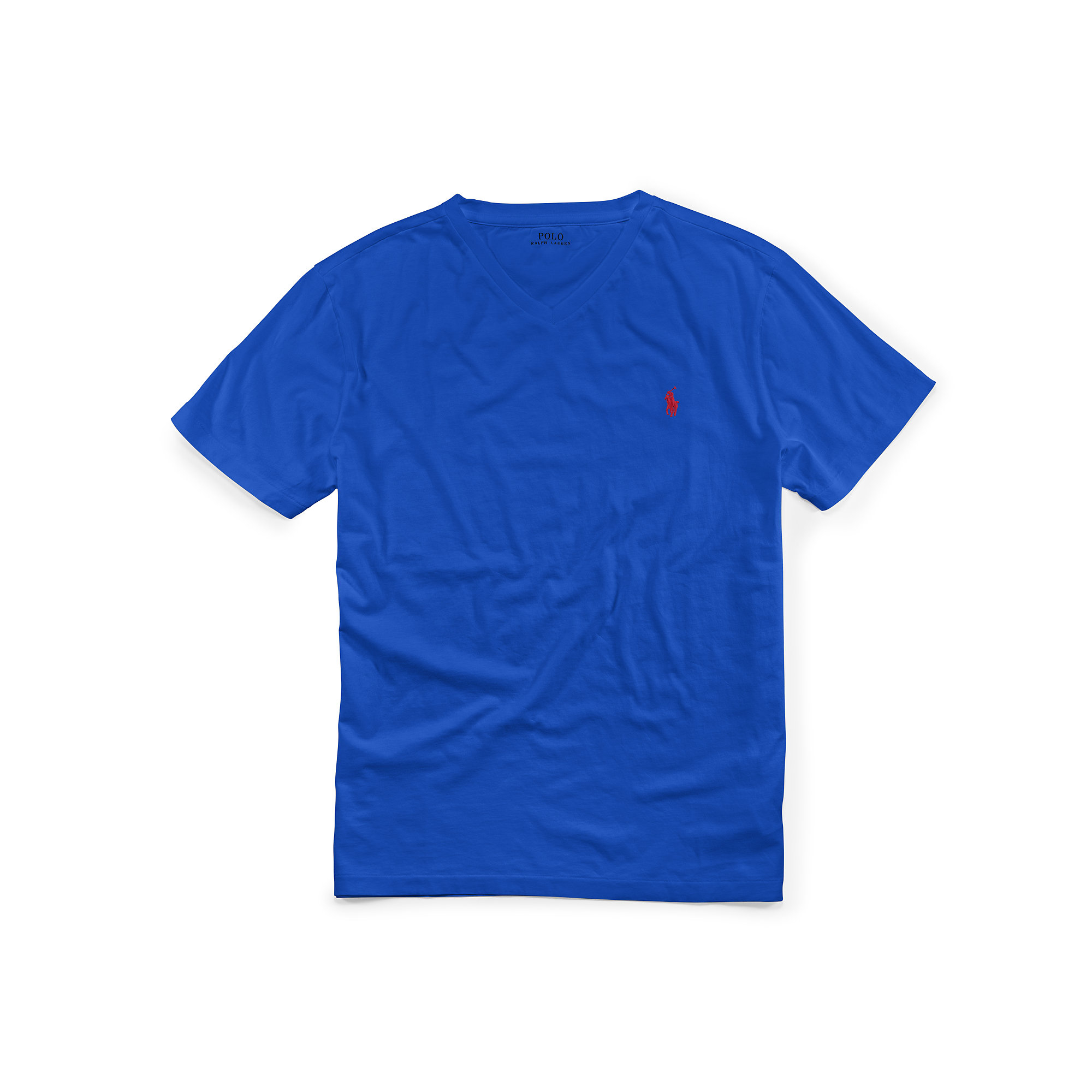 Polo Ralph Lauren Cotton Jersey V Neck T Shirt In Blue For