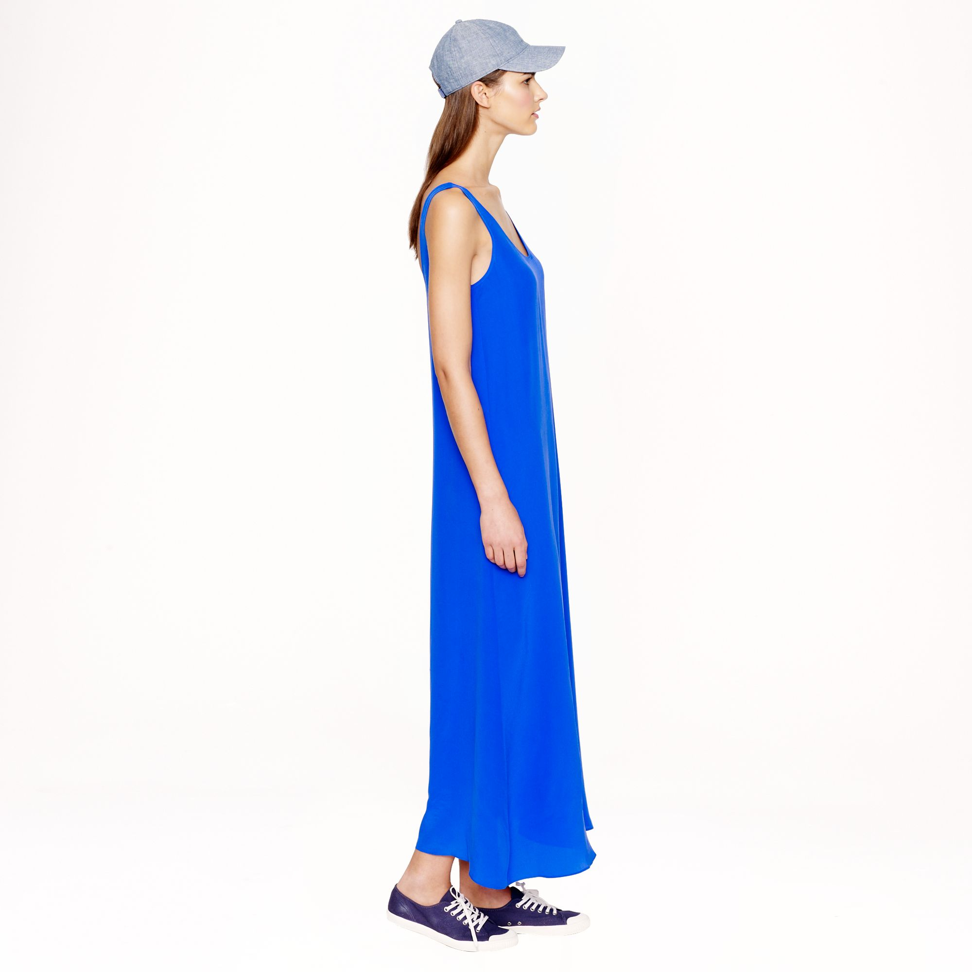 a3fbd98e8d0 J.Crew Silk Crepe Maxidress in Blue - Lyst
