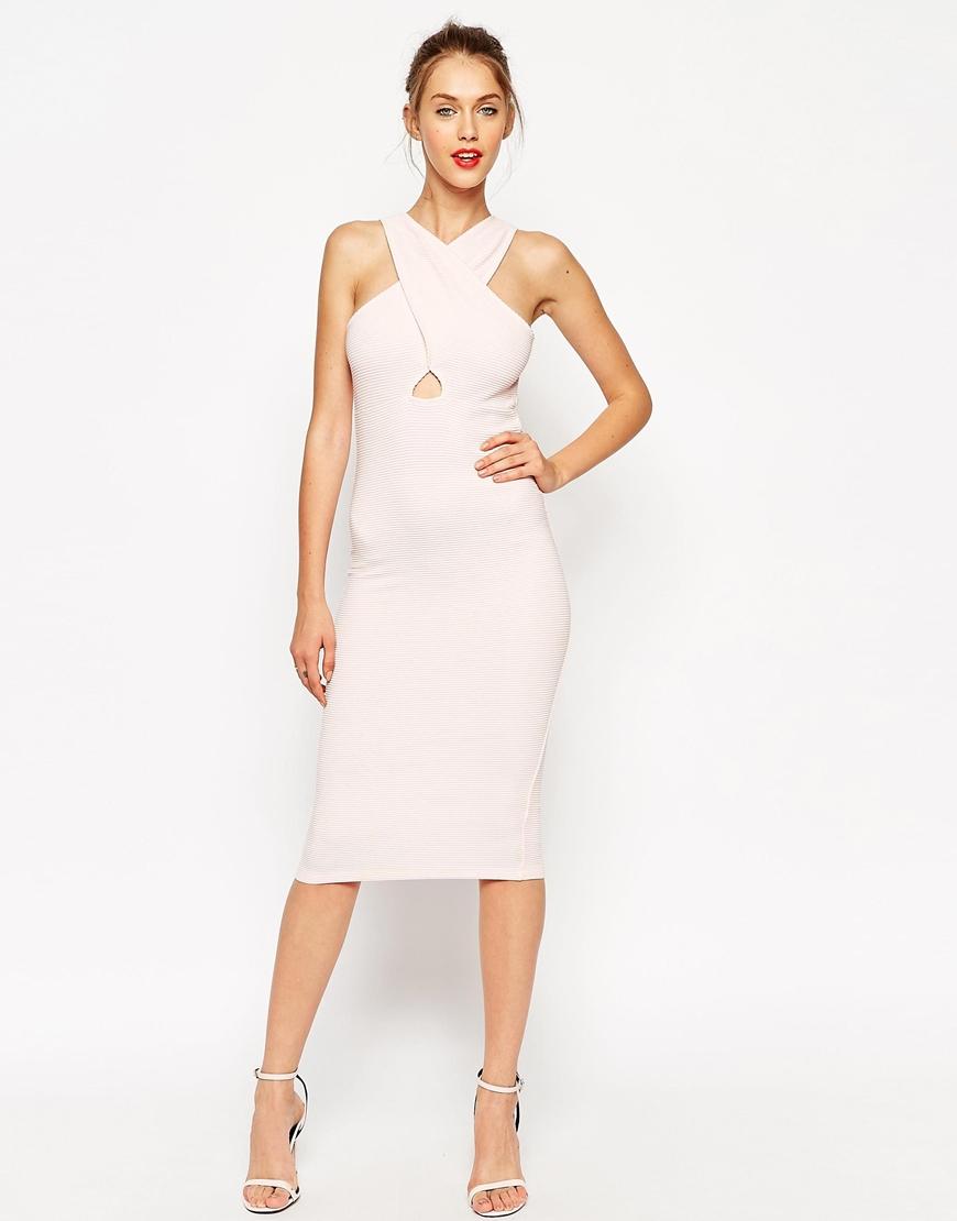 Cut out bodycon midi dress in white