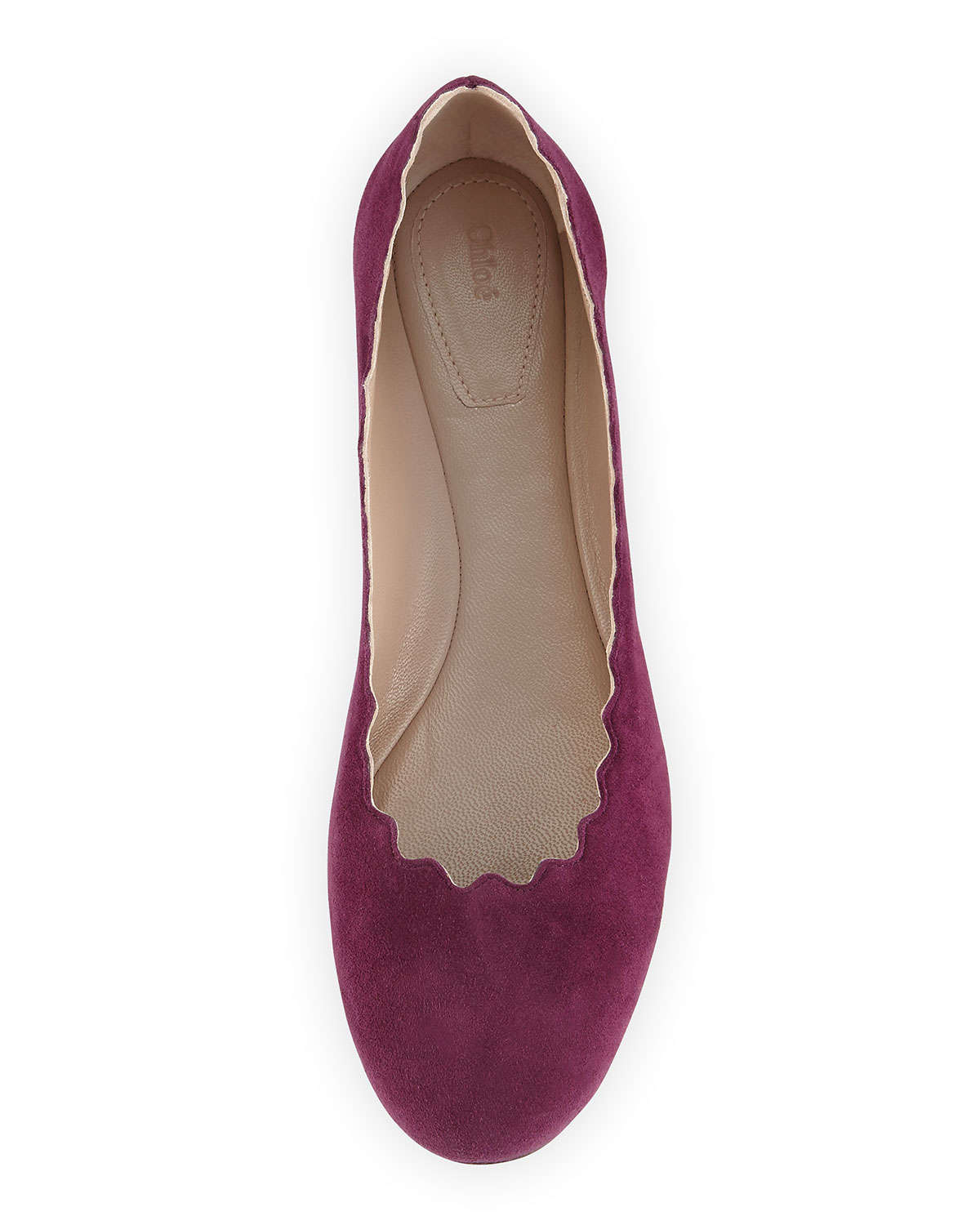 9528eb986 Chloé Scalloped Suede Ballet Flats in Purple - Lyst