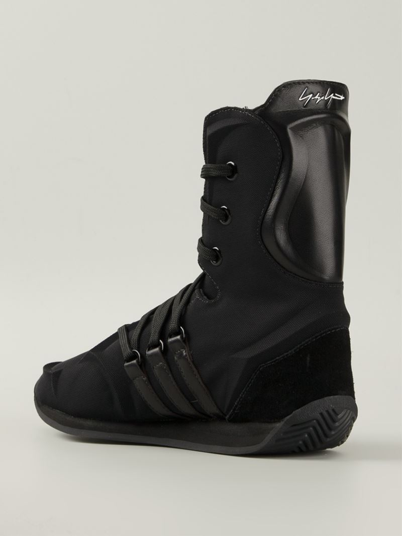 yohji yamamoto cotton and leather boxing boots in black lyst