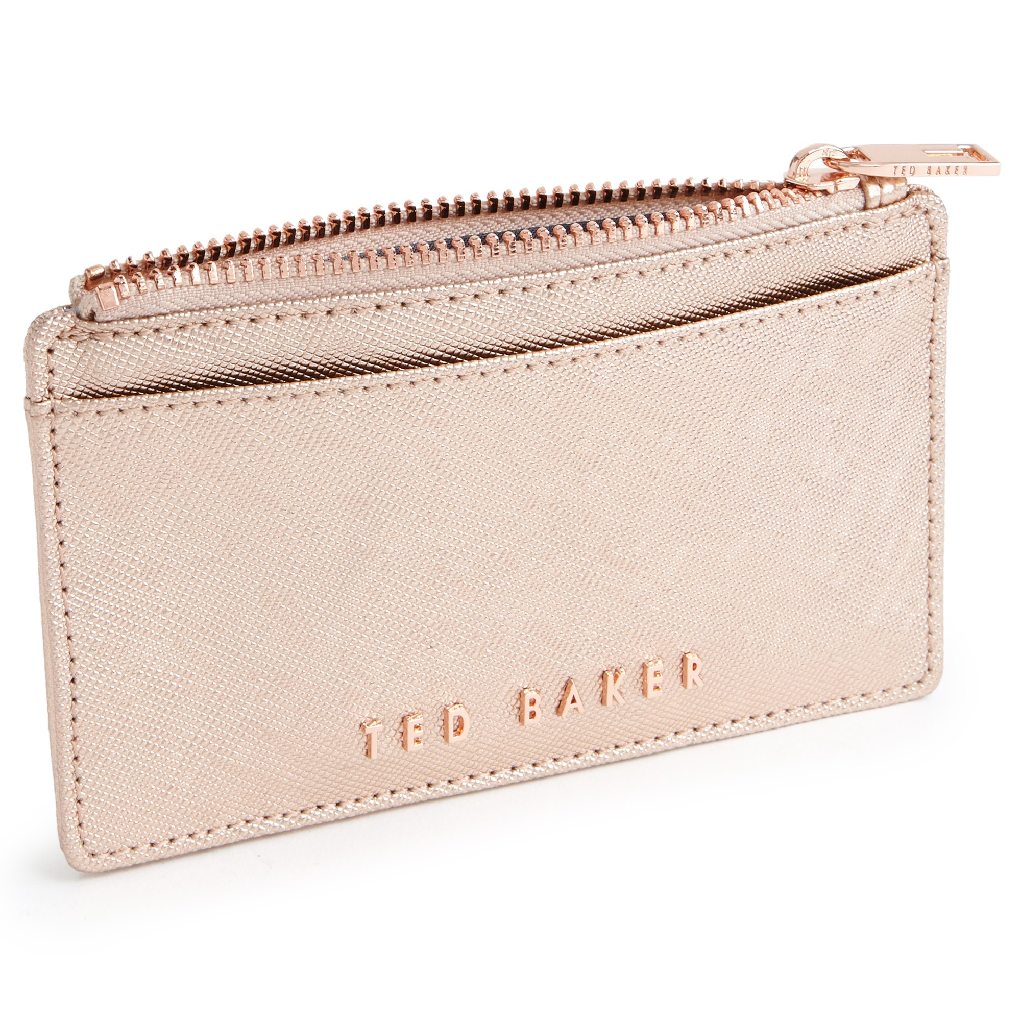 e7887872f5 Ted Baker Crosshatch Leather Metallic Leather Coin Purse in Pink - Lyst