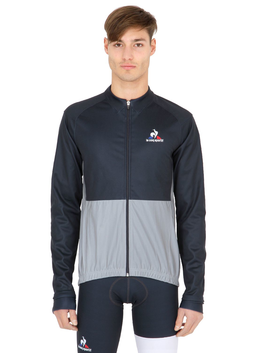 le coq sportif classic soft shell cycling jacket in blue for men dark blue save 46 lyst. Black Bedroom Furniture Sets. Home Design Ideas