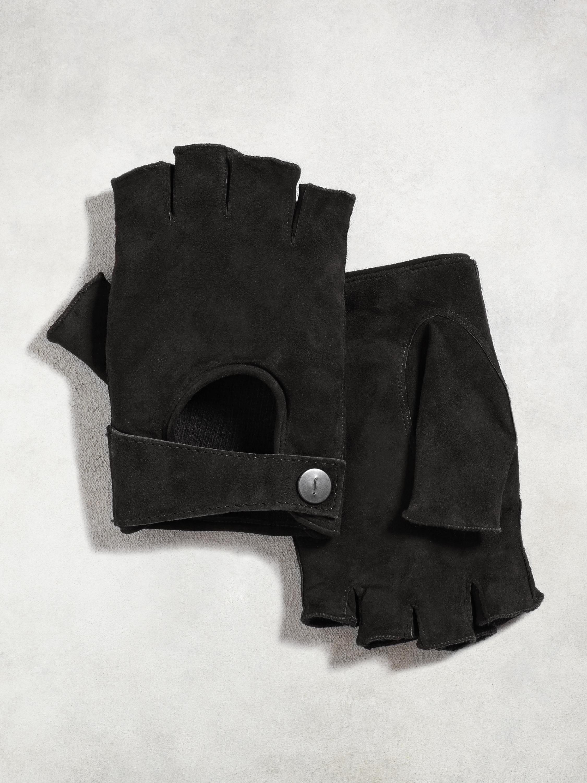 John varvatos leather driving gloves - John Varvatos Men S Black Fingerless Suede Driving Glove
