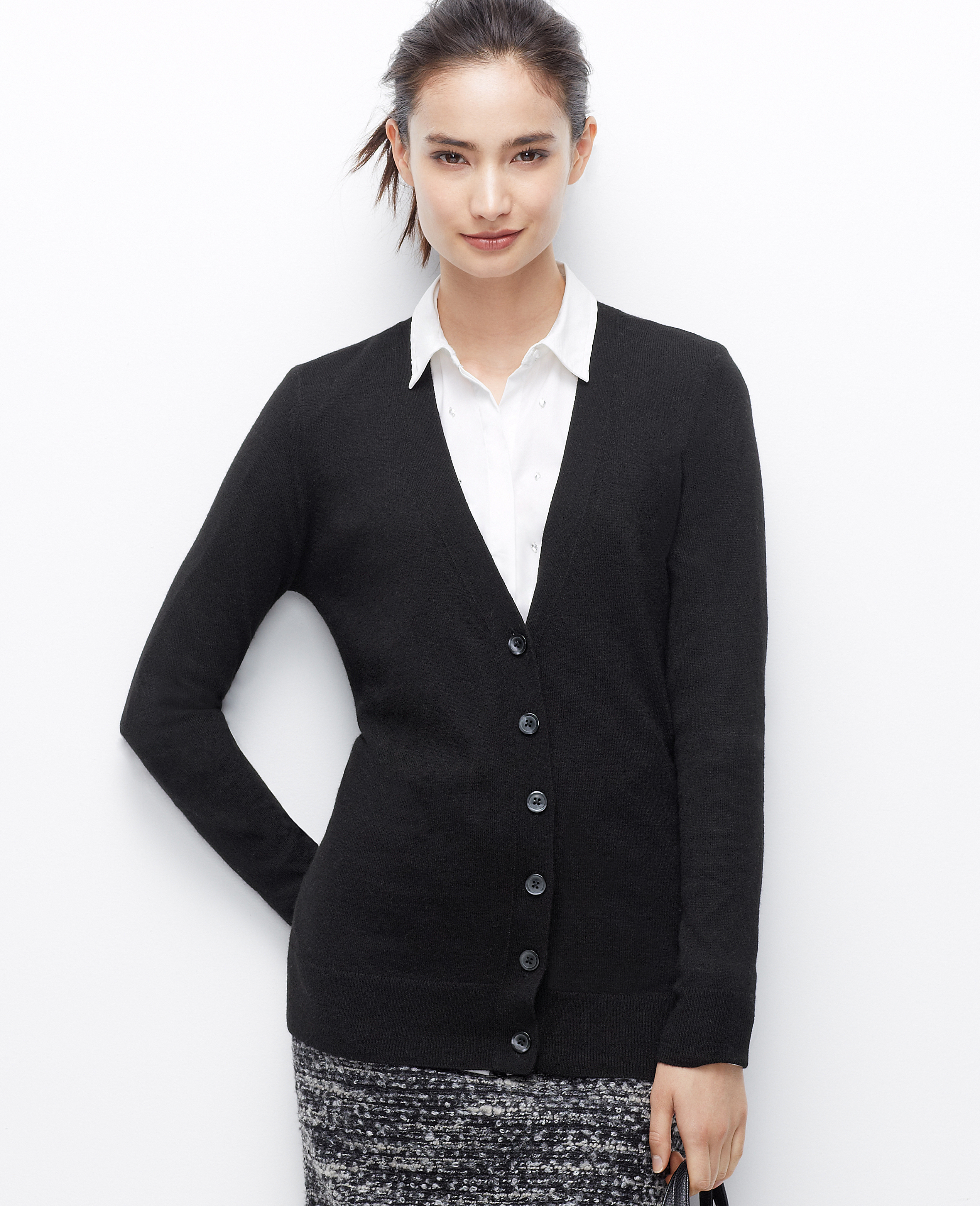 Ann taylor V-Neck Boyfriend Cardigan in Black | Lyst