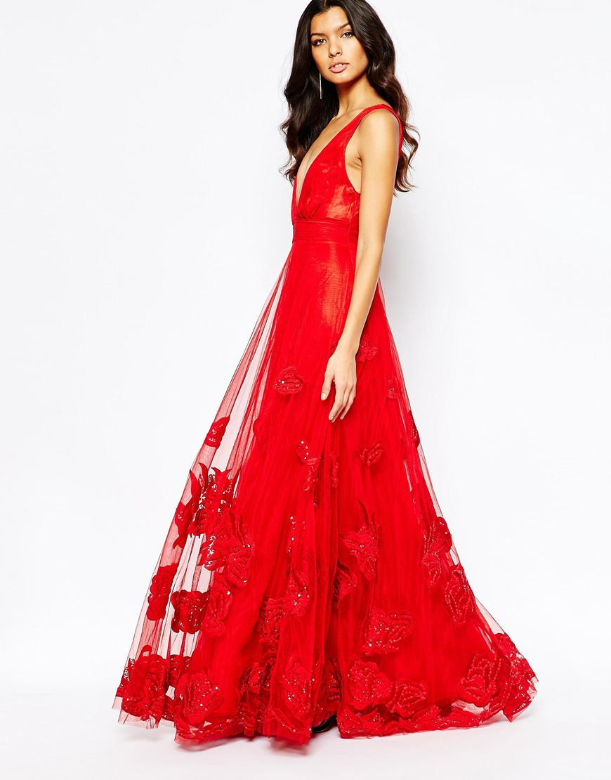 46a92c443cf A Star Is Born Embellished Plunging Tulle Gown in Red - Lyst