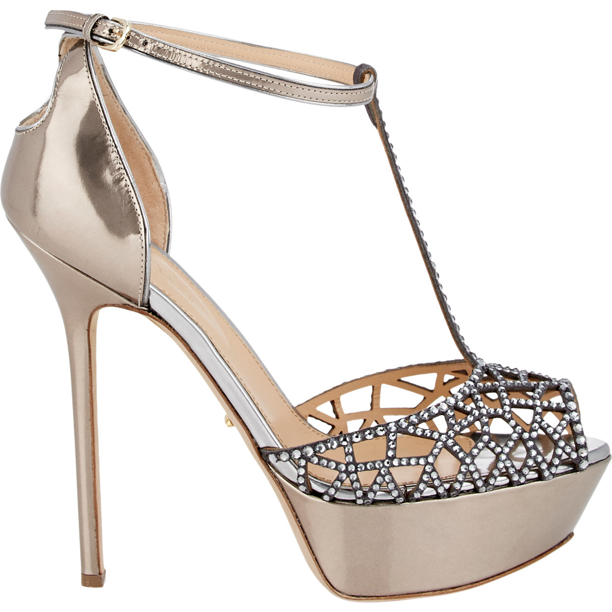 Womens Embellished Tresor T-Strap Sandals Sergio Rossi