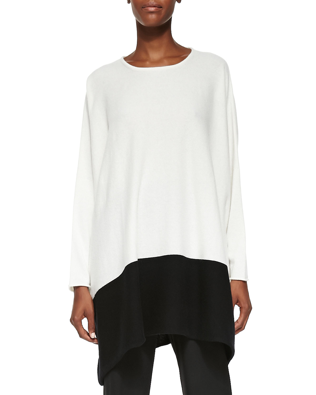 Eskandar Cashmere Tunic Sweater W/ Colorblock Hem in White | Lyst