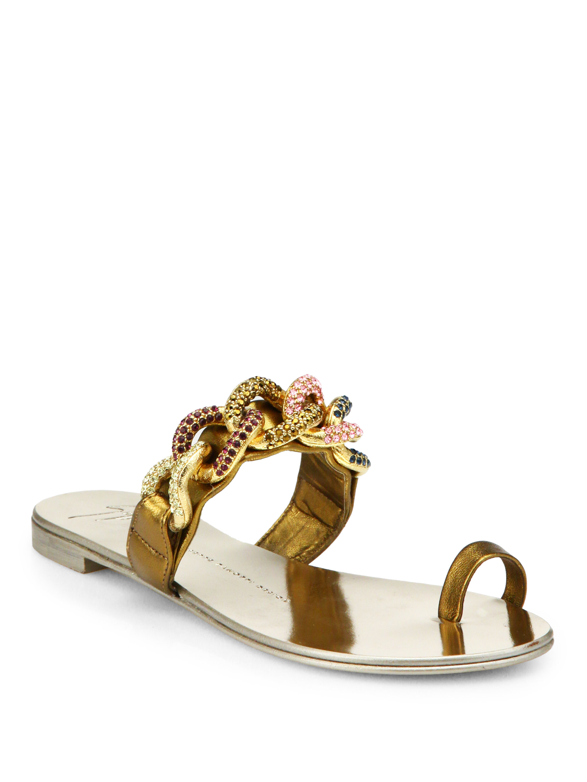 1765a1726946 ... ireland lyst giuseppe zanotti jeweled chain leather toe ring sandals in  1aa88 0ef02