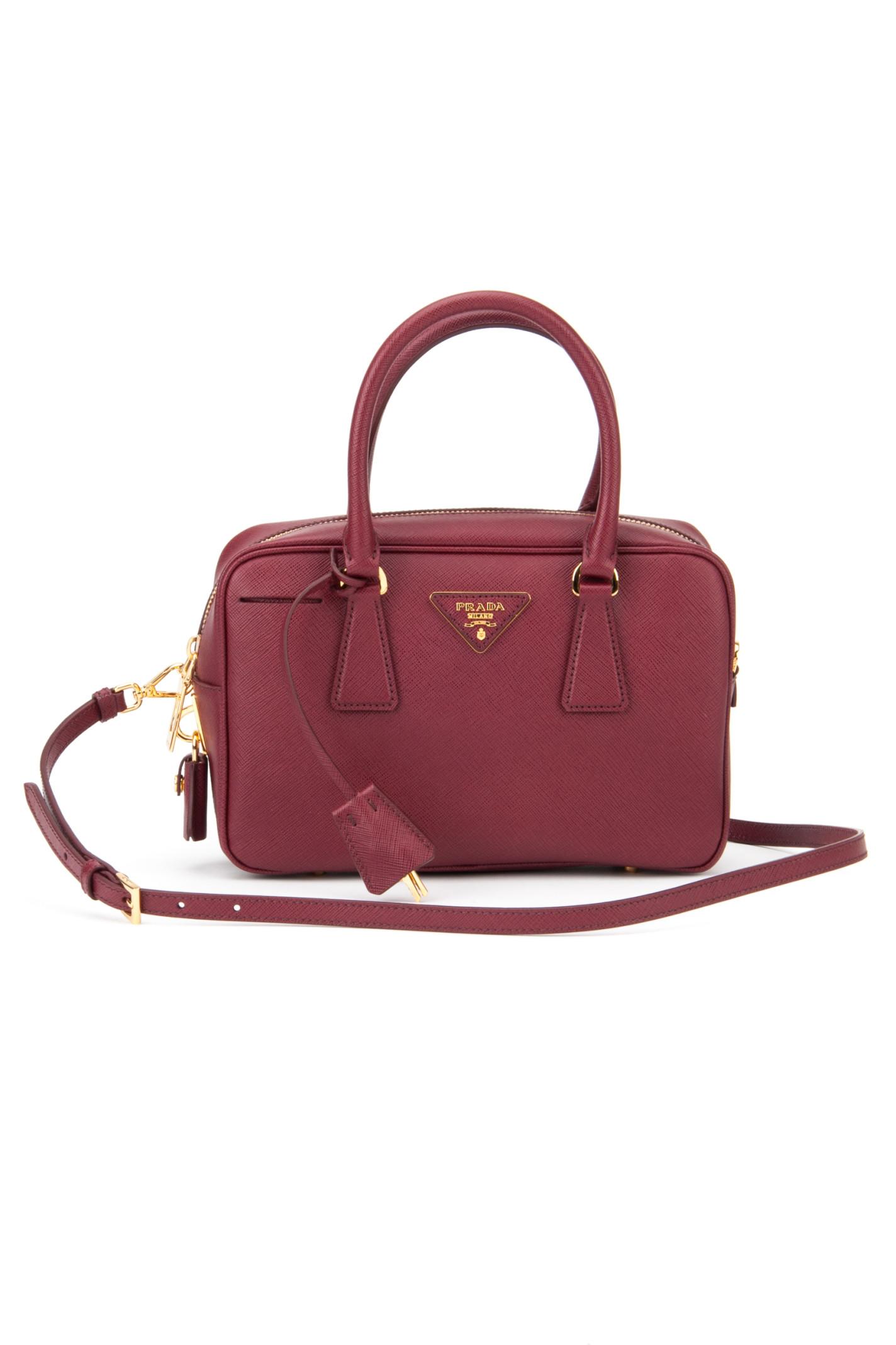 Prada Saffiano Lux Bowling Bag in Red (CERISE) | Lyst