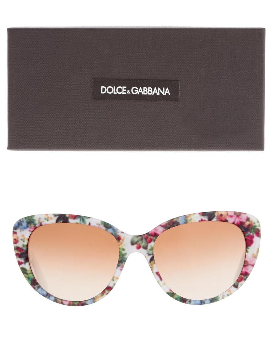 cc7c9b43f48 Lyst - Dolce   Gabbana Dolce and Gabbana Cateye Floral Print Sunglasses