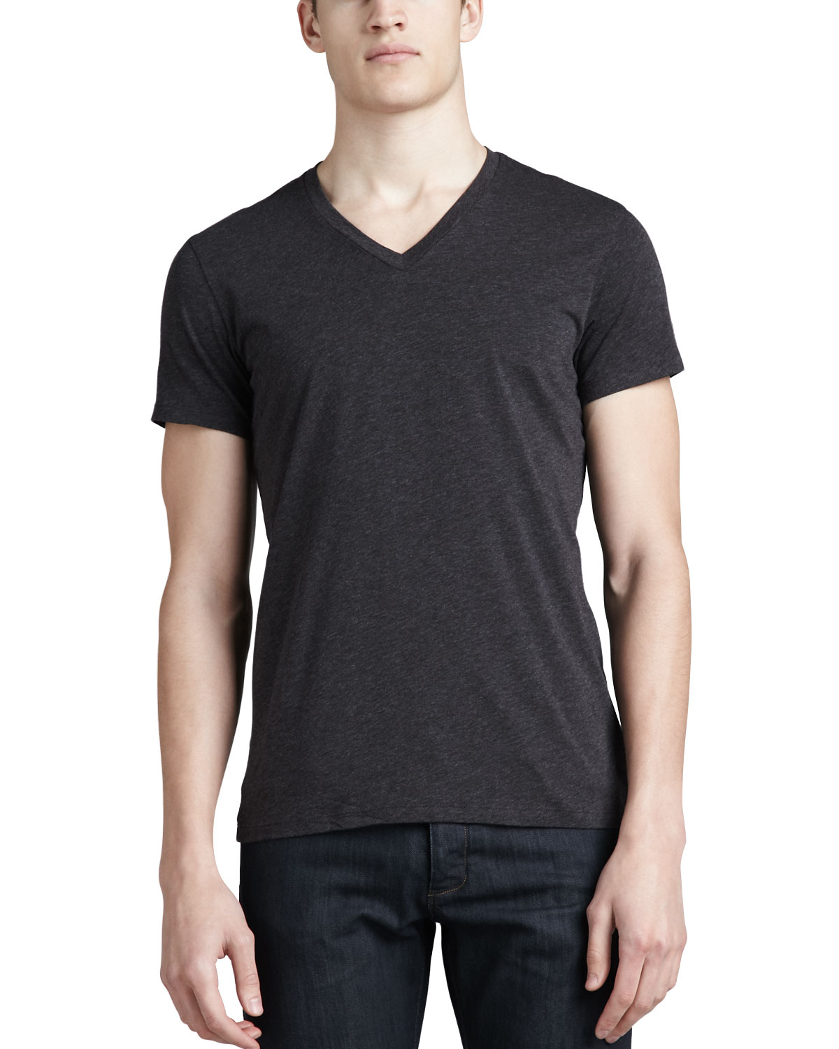 Theory v neck silk cotton t shirt in gray for men lyst for Cotton silk tee shirts
