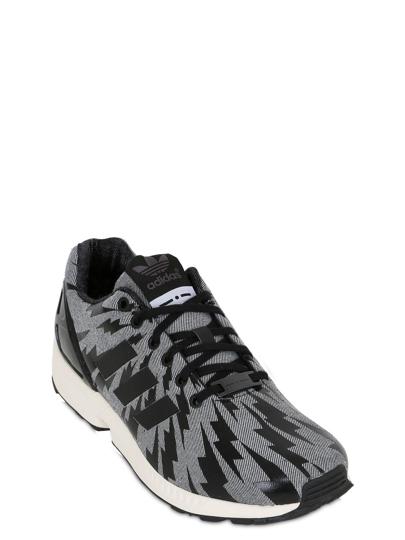 sale retailer 7d49b 932ff Adidas Originals - Black Zx Flux Denim Printed Sneakers - Lyst