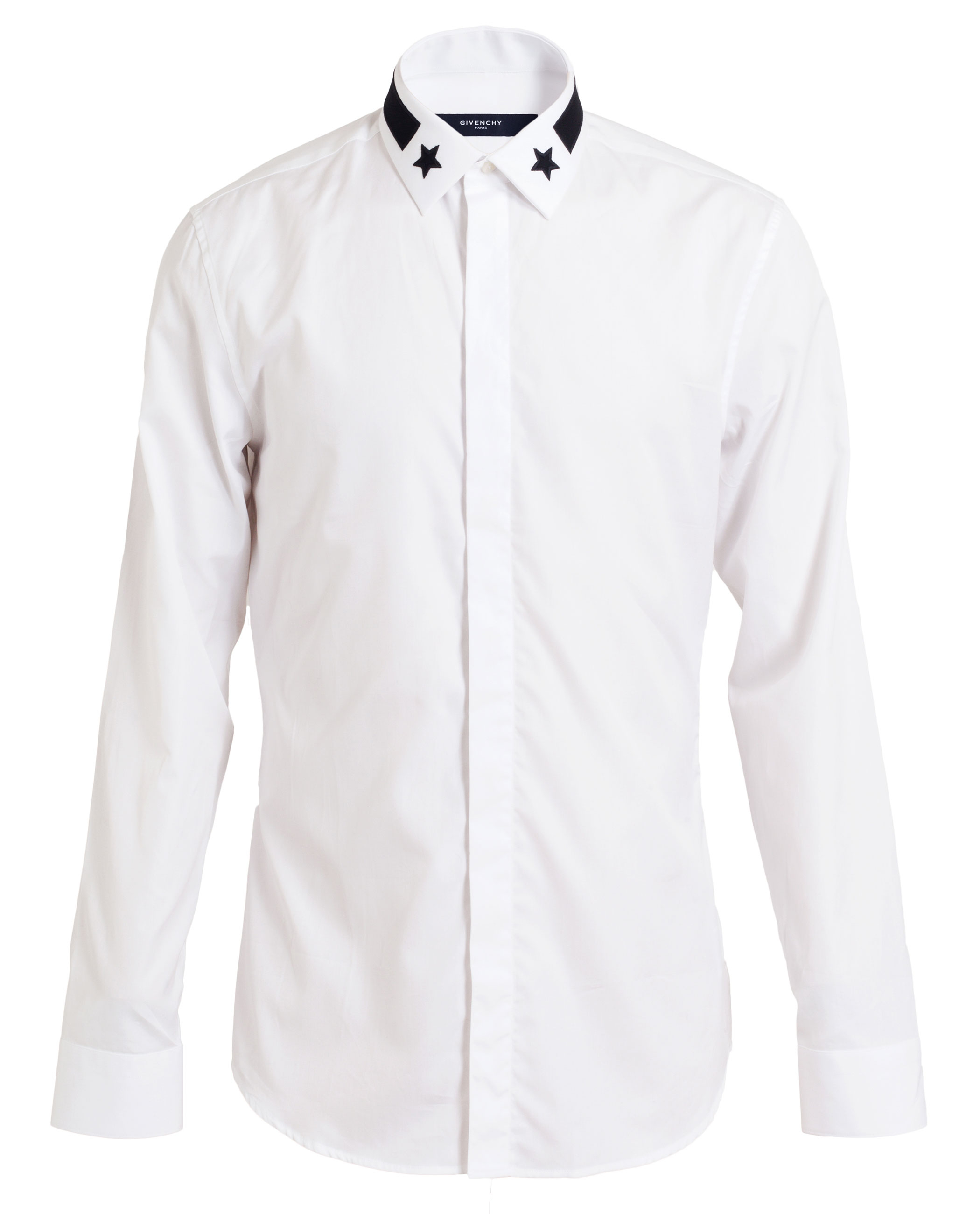 Givenchy star embroidered tailored cotton shirt in white for Givenchy 5 star shirt