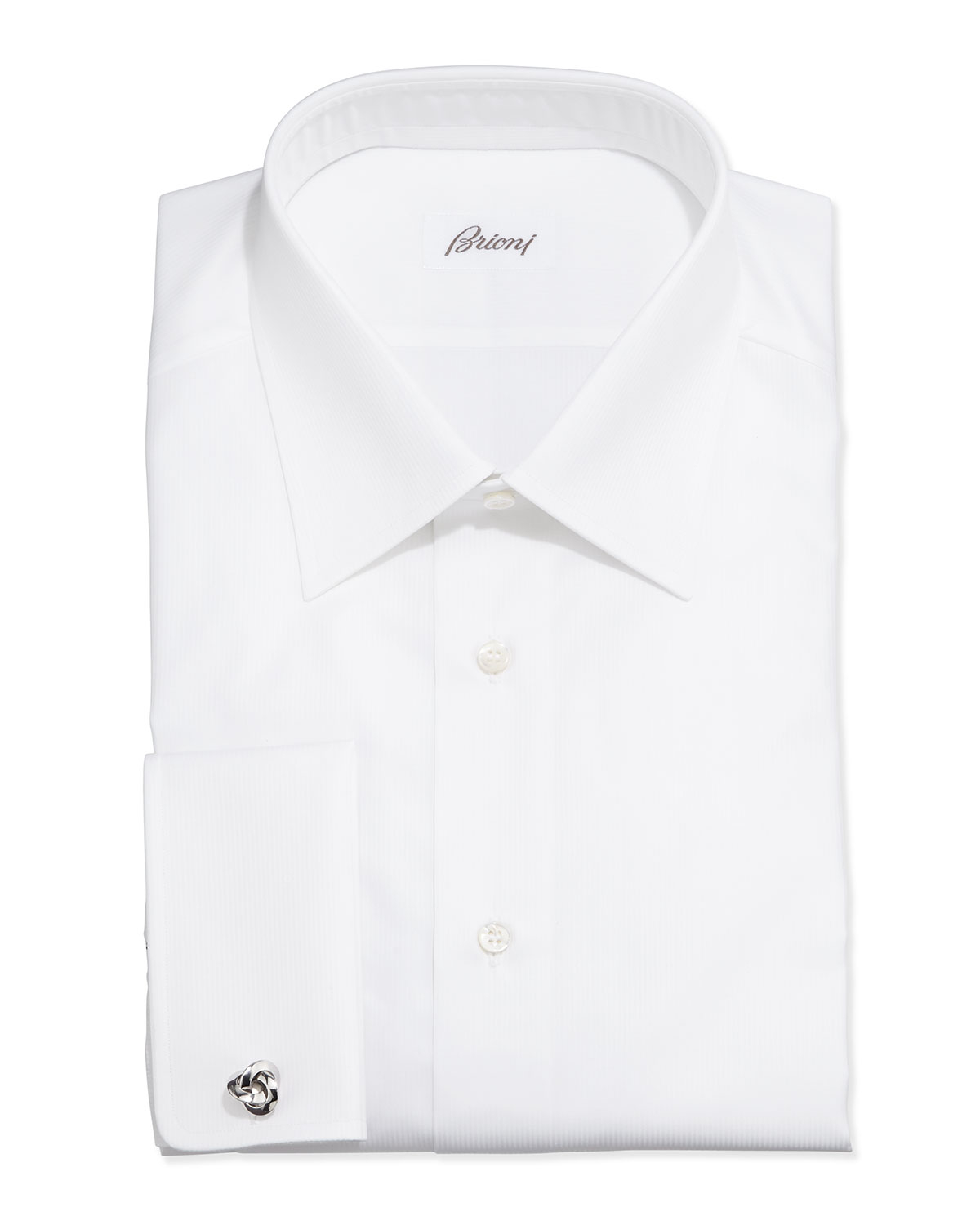 Brioni french cuff shadow stripe dress shirt in white for for French cuff shirts cheap