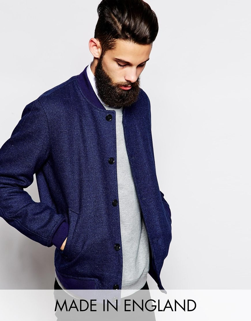 Asos Bomber Jacket In London Cloth Company Fabric in Blue for Men ...