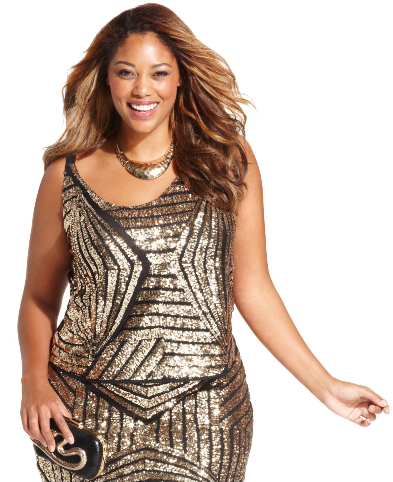 soprano plus size sleeveless sequined top in metallic | lyst
