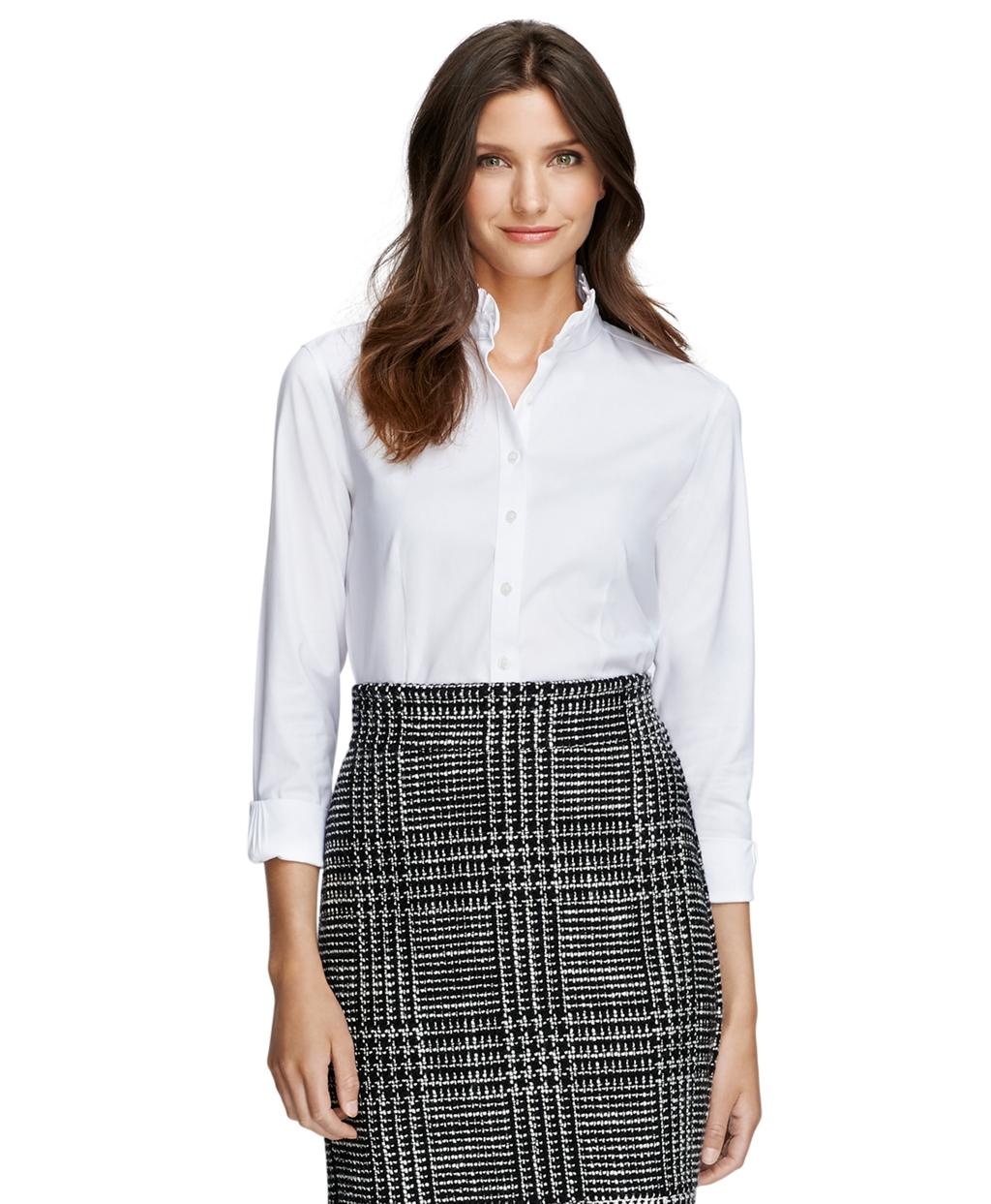 39aa1ed908c Lyst - Brooks Brothers Non-iron Tailored Fit Ruffle Collar Dress ...
