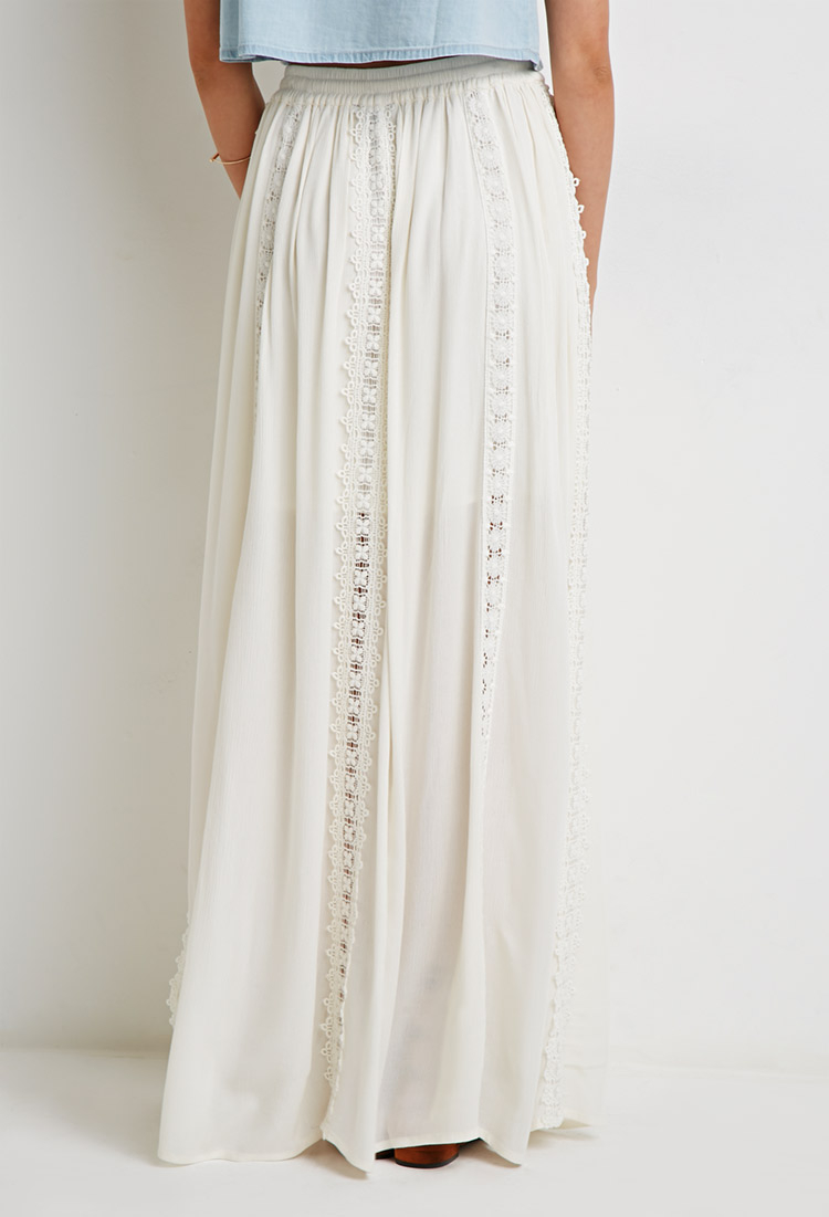 Forever 21 Crochet-paneled Maxi Skirt in Natural | Lyst