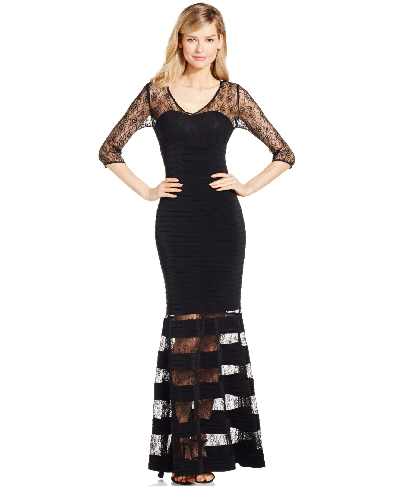 Lyst - Js Collections Lace Combo V-neck Dress in Black