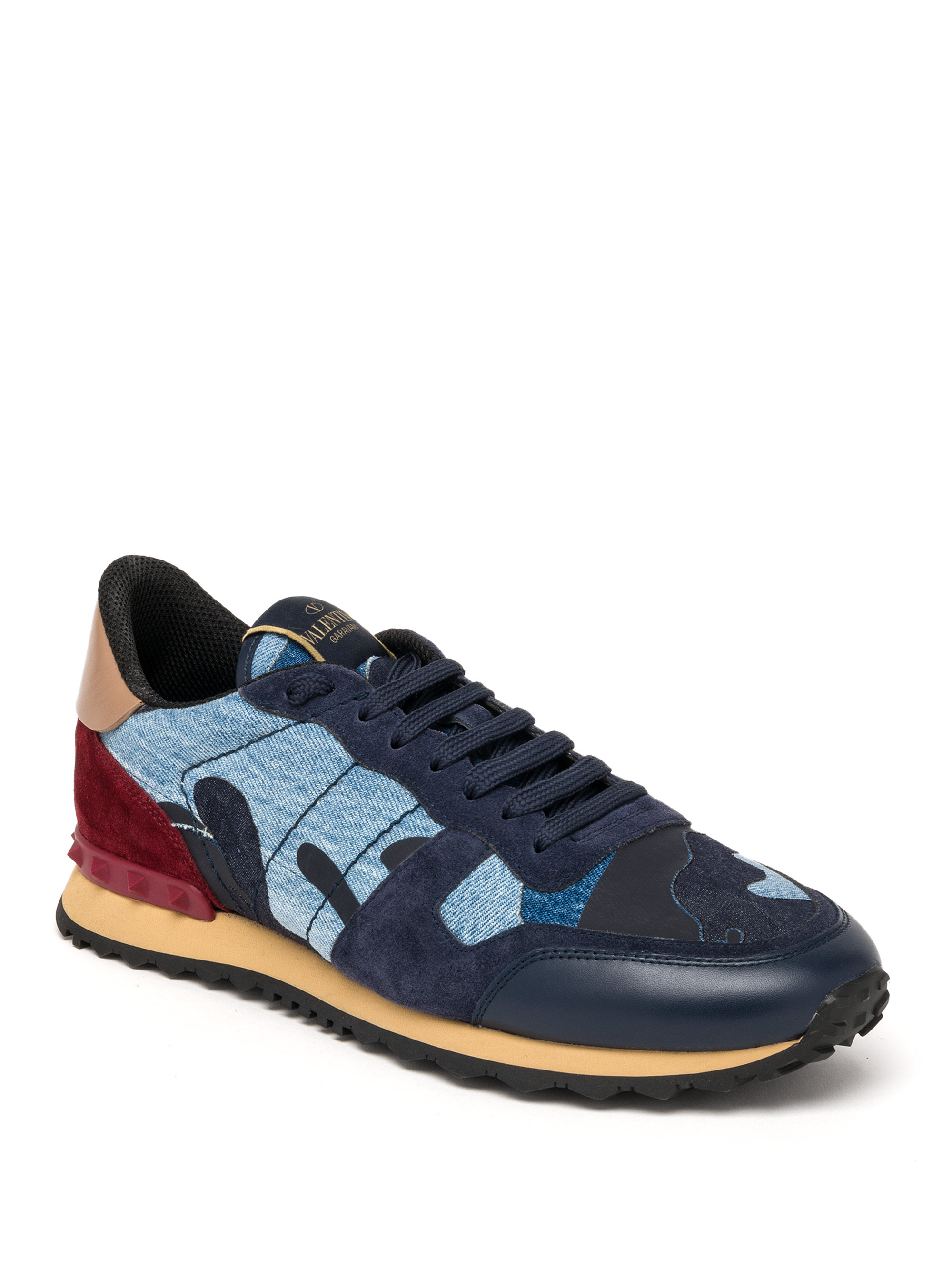 valentino rockrunner denim camo studded sneakers in blue lyst. Black Bedroom Furniture Sets. Home Design Ideas