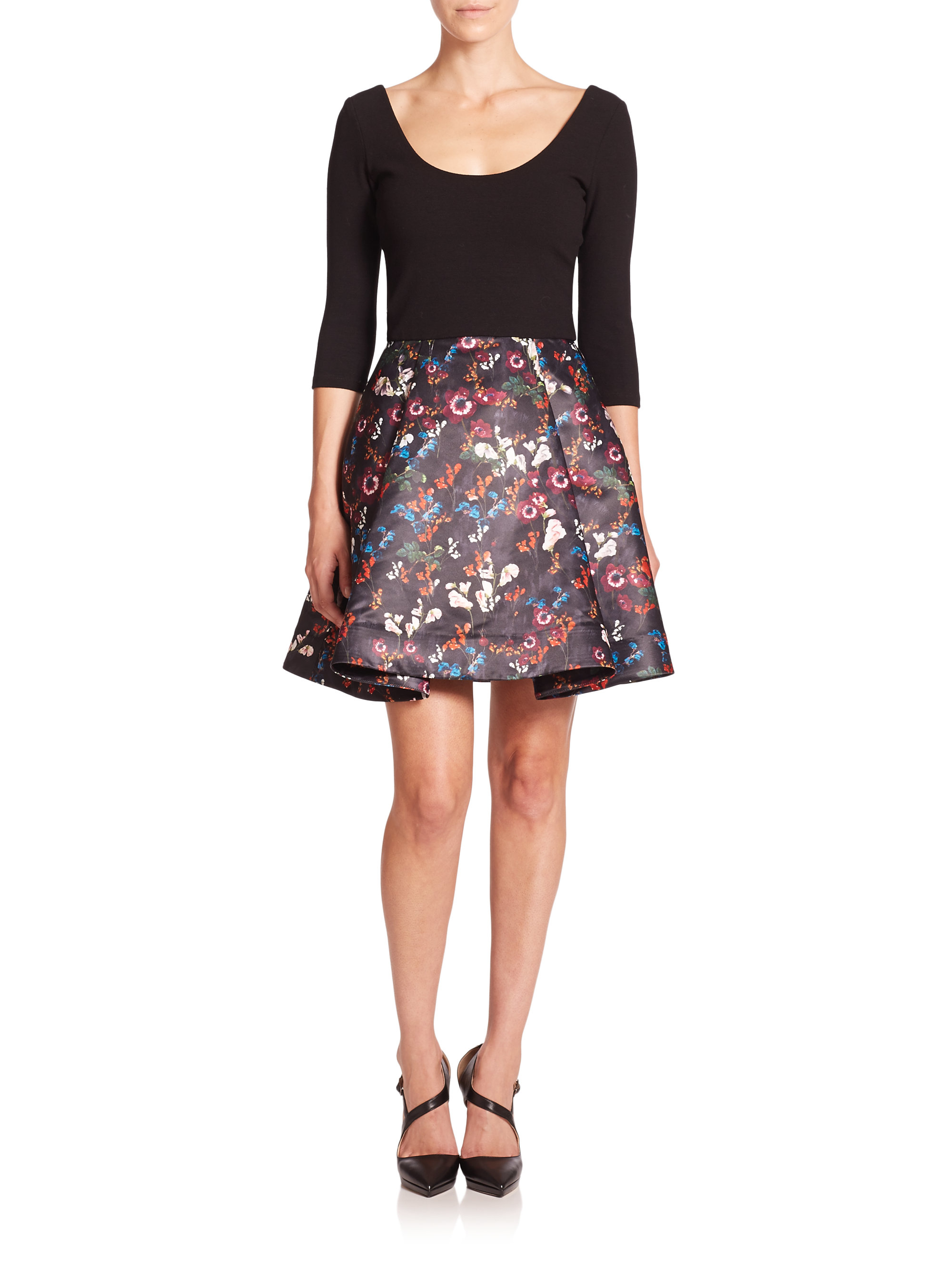 Lyst Alice Olivia Amie Knit Top Floral Dress In Black
