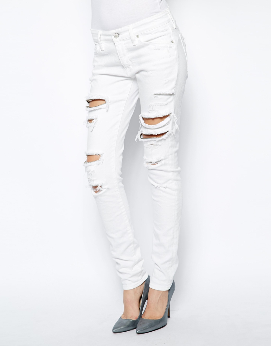 Ralph lauren Ripped Skinny Jeans with Zip Detail in White | Lyst