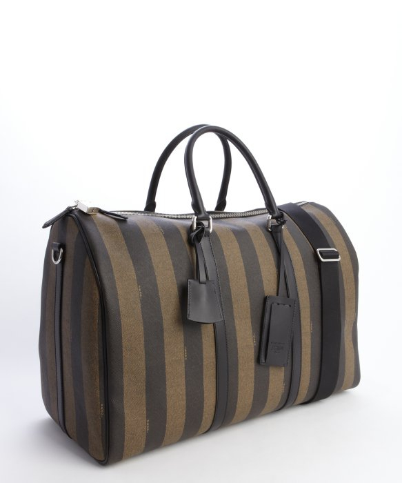 Fendi Brown Striped Coated Canvas and Leather Pequin Weekender Bag . 08c2f3175d