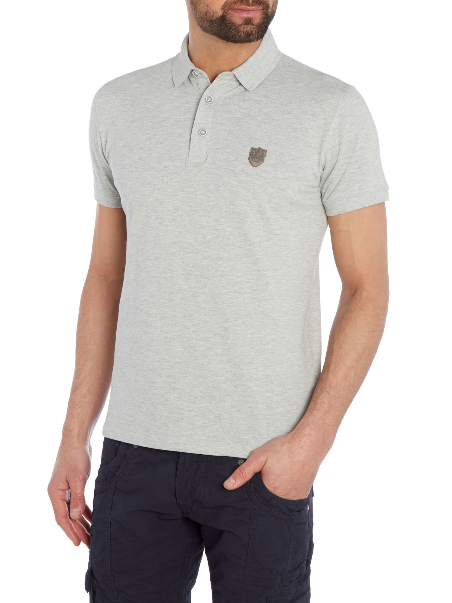 Lyst 883 police mellor polo shirt in gray for men for Embroidered police polo shirts