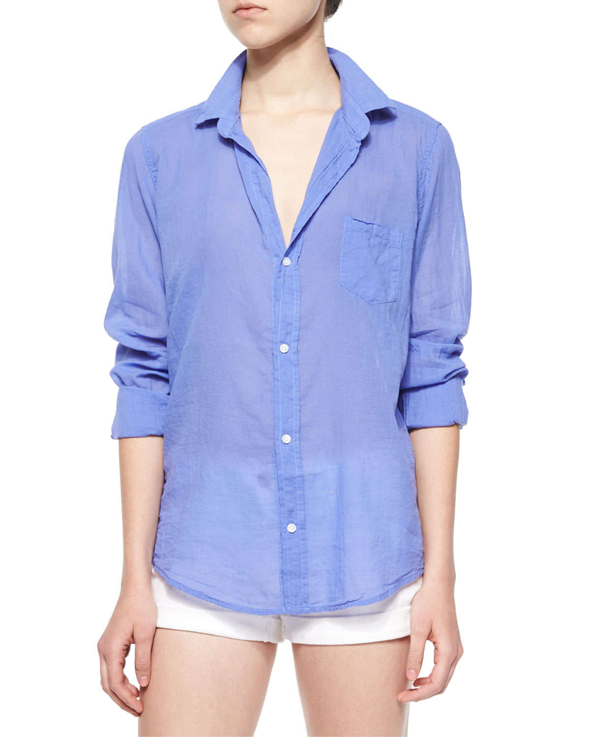 c38511cc5 Frank & Eileen Barry Long-sleeve Voile Shirt in Blue - Lyst