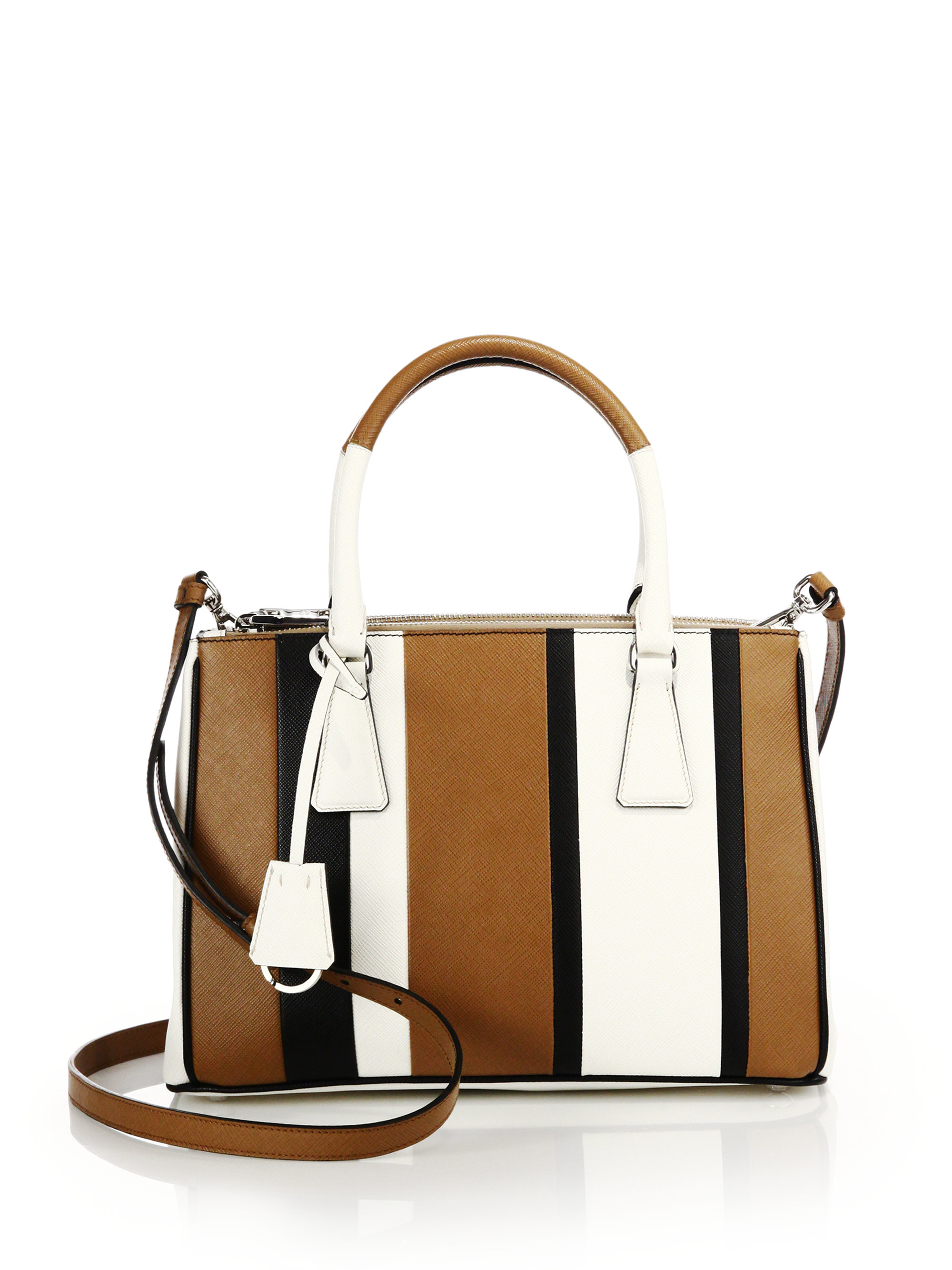 prada purses - Prada Saffiano Lux Small Baiadera Double Zip Tote in Brown ...