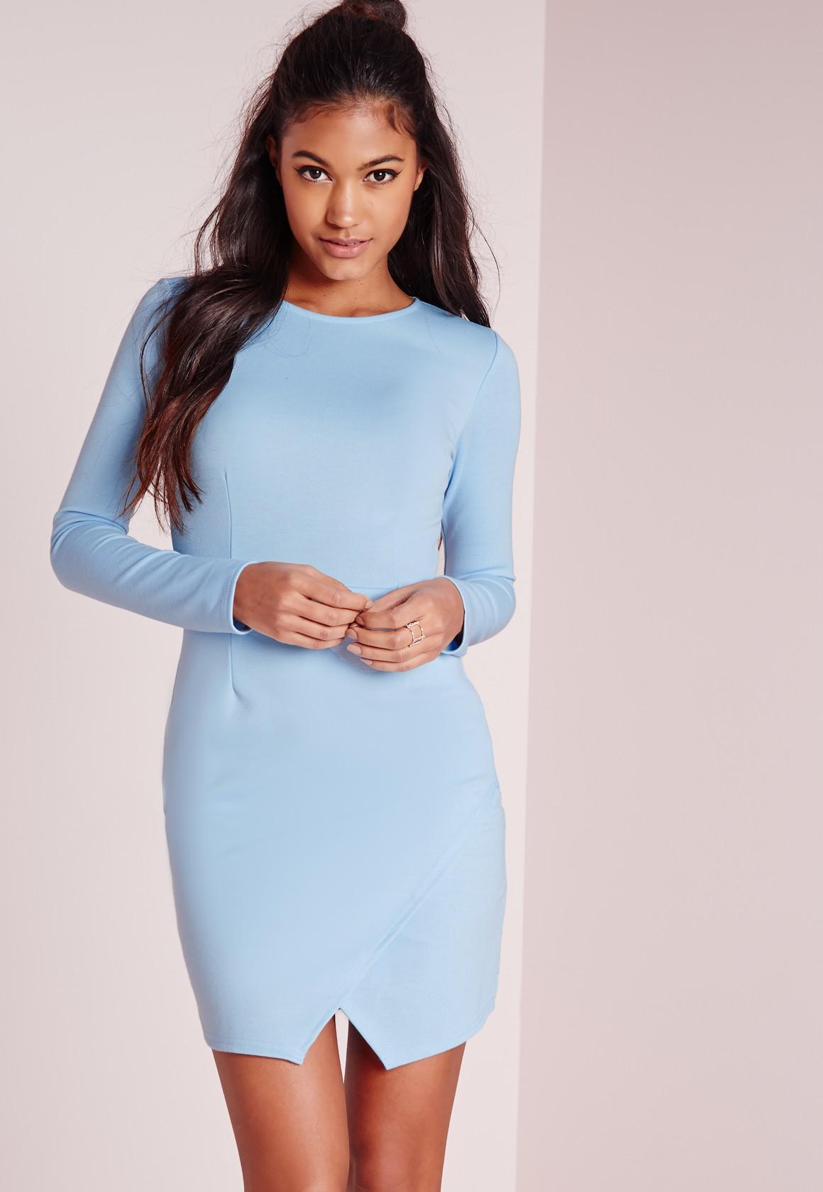653b57279f Lyst - Missguided Long Sleeve Wrap Hem Bodycon Dress Powder Blue in Blue