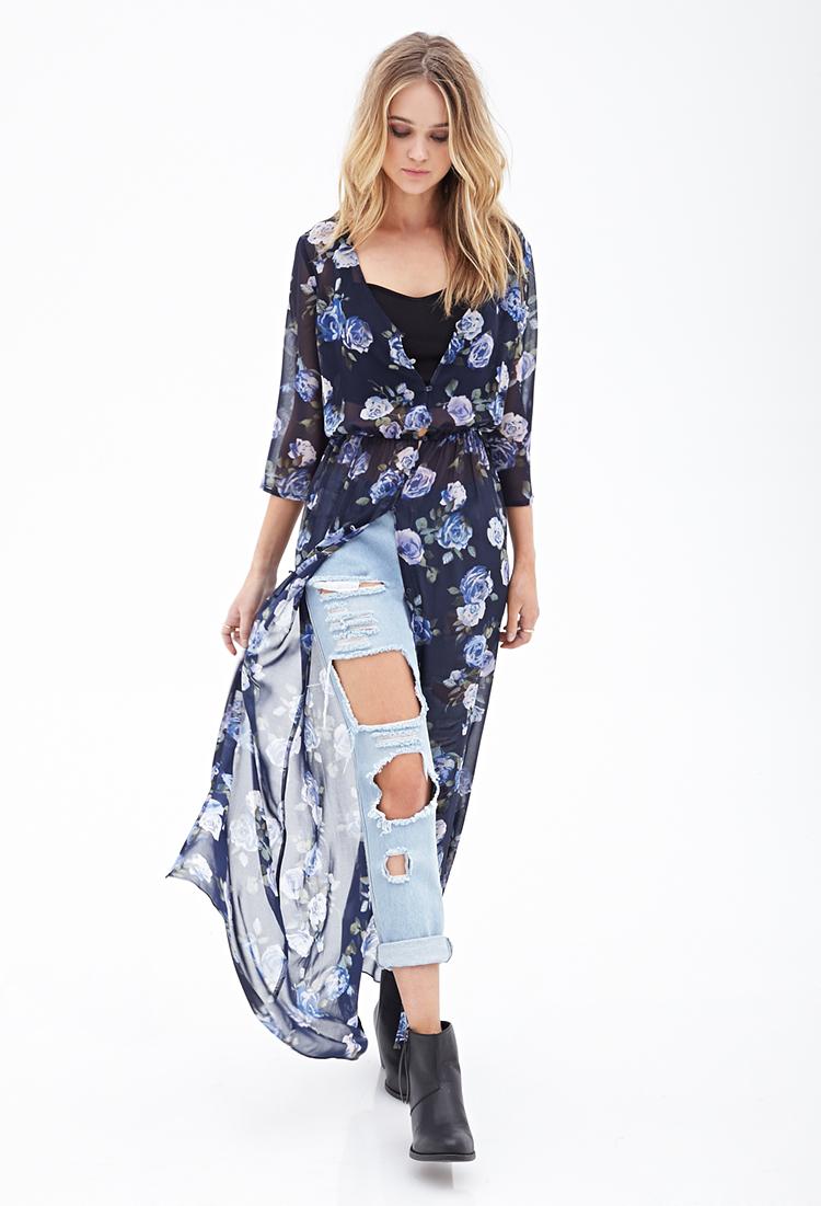 Forever 21 Floral Kimono Maxi Dress in Blue/Cream (Blue ...