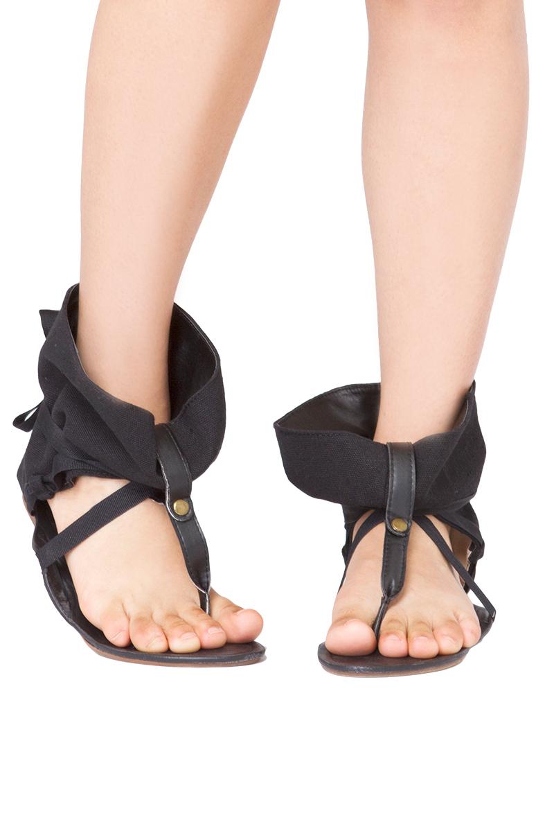 Akira Black Label Ankle Wrap Flat Thong Sandals In Black