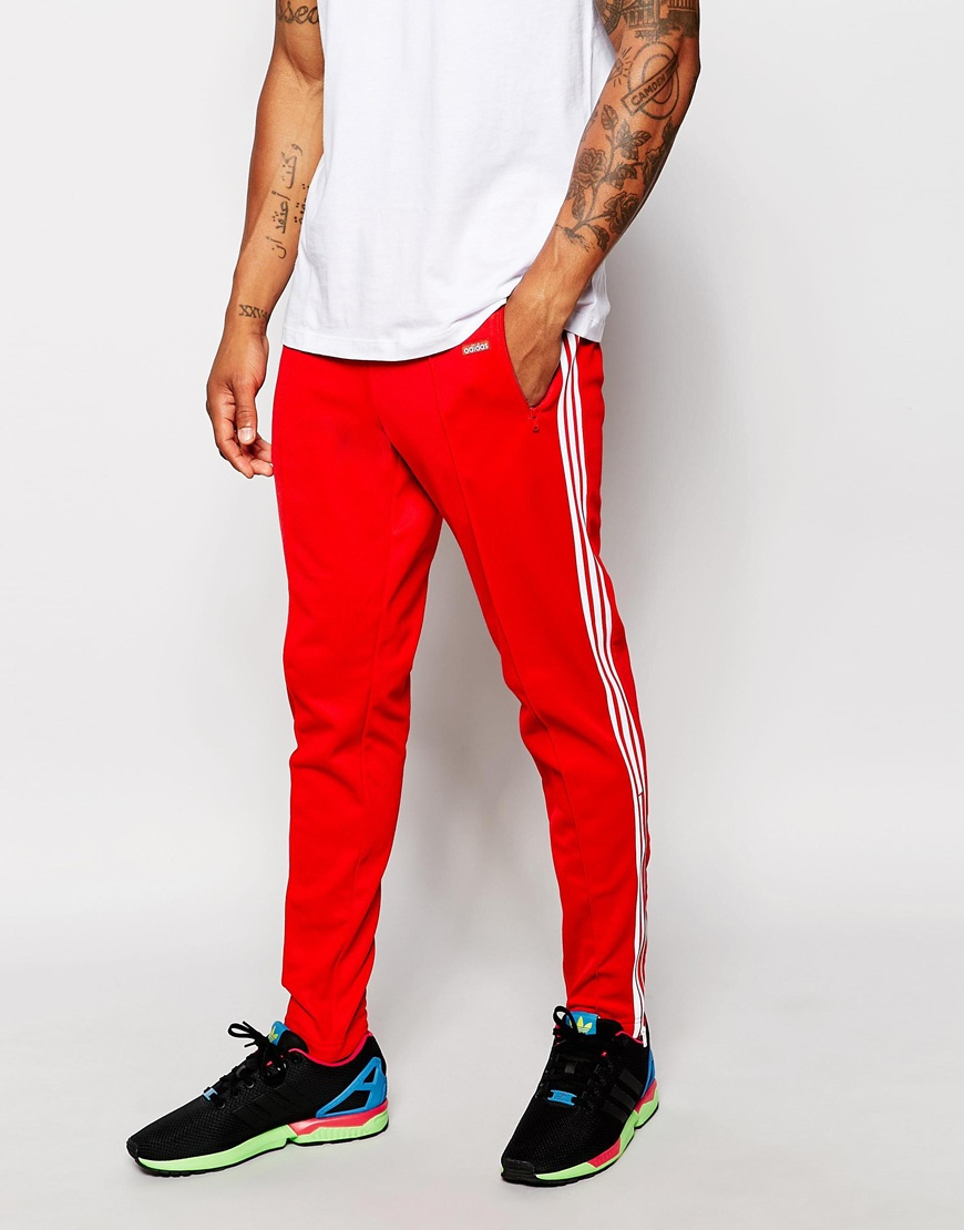 Adidas originals Beckenbauer Skinny Joggers With Stirrups Ab7765 in Red for Men | Lyst