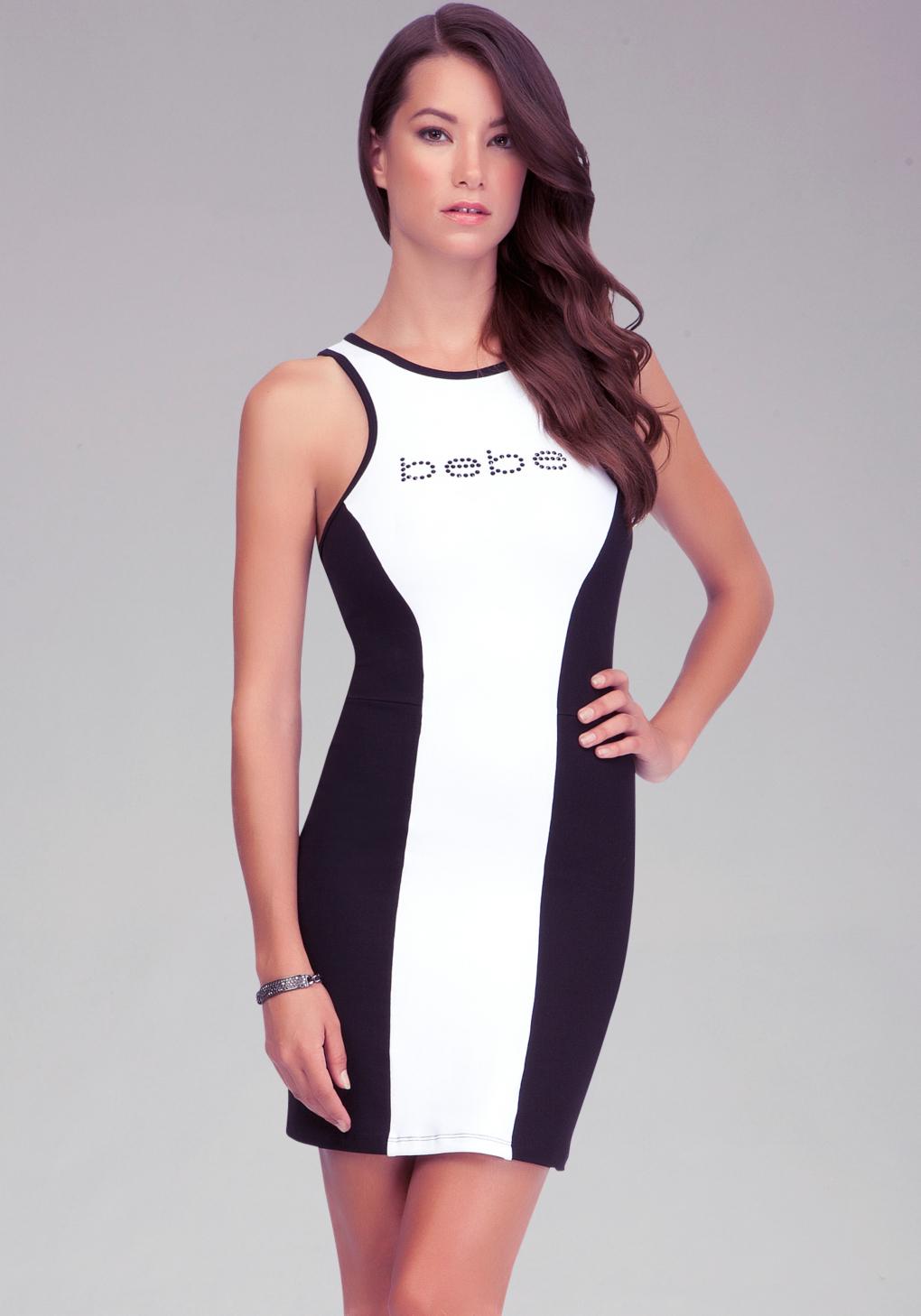 Bebe Logo Colorblock Scuba Dress in White | Lyst