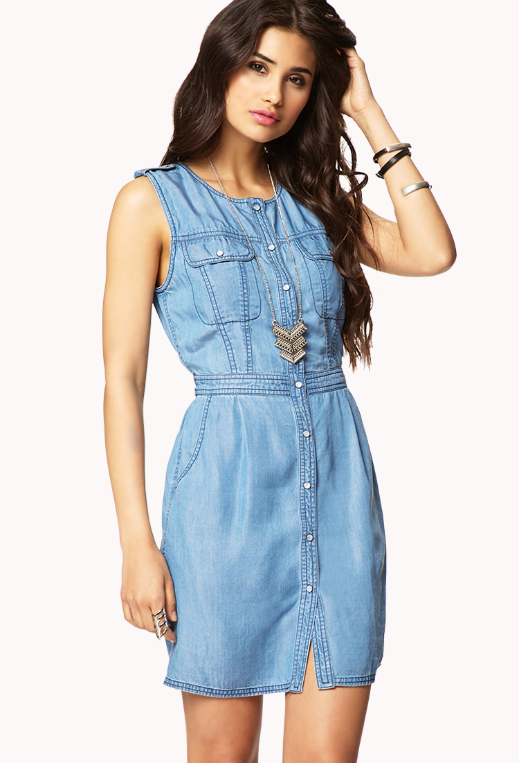 460ccfdb1c7 Lyst - Forever 21 Epaulette Chambray Dress in Blue