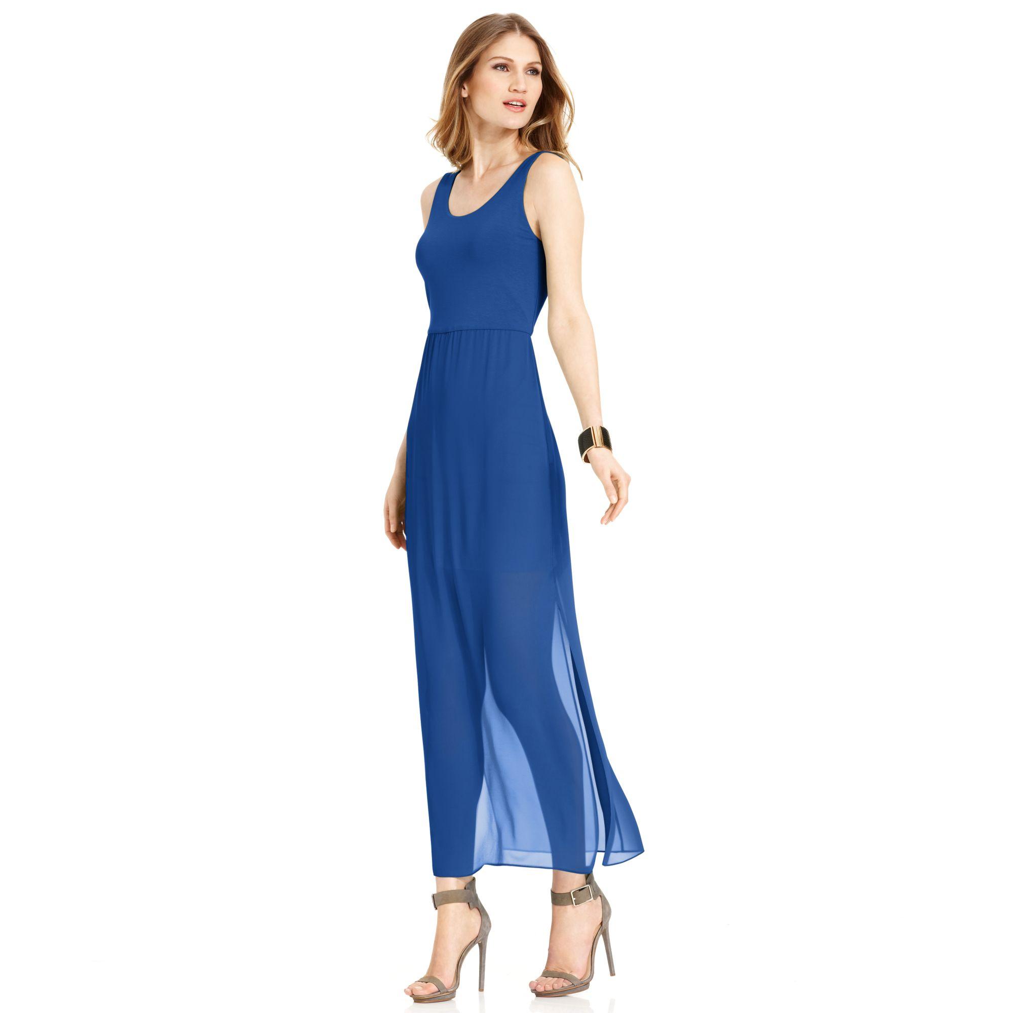 vince camuto sleeveless sheer skirt maxi dress in blue