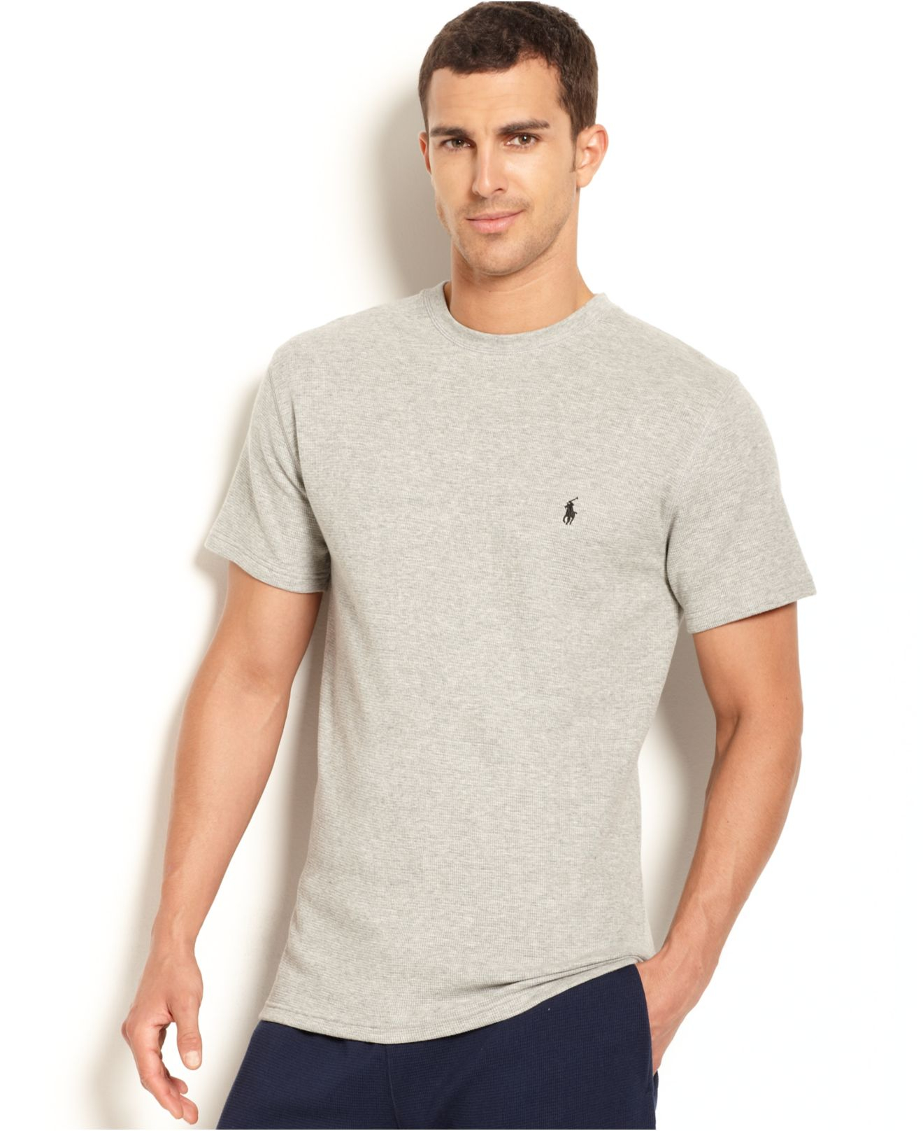 Polo Ralph Lauren Waffle Knit Thermal Crew Neck T Shirt In