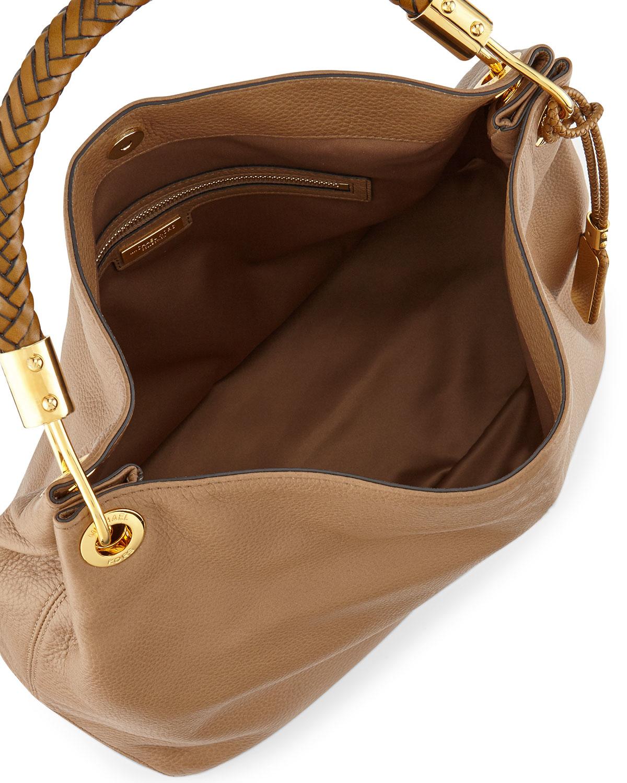 0f22e433bfc6b1 Lyst - Michael Kors Large Skorpios Grained Shoulder Bag in Brown